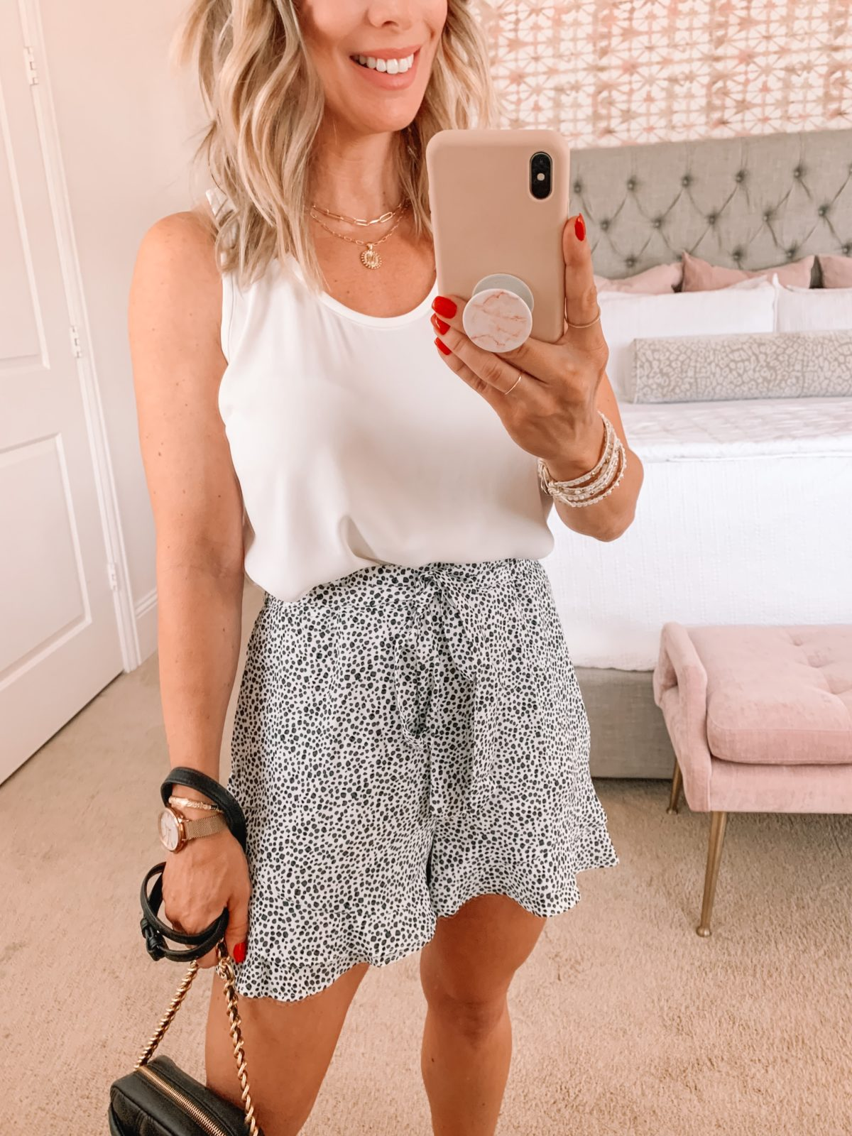 Amazon Fashion Faves, White Tank, Leopard Dot Shorts, Crossbody Bag