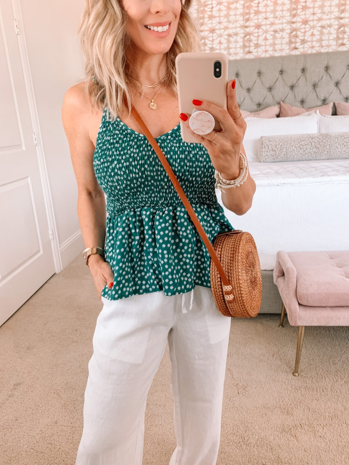 Amazon Fashion Faves, Green Peplum Tank, White Linen Pants, Woven Crossbody