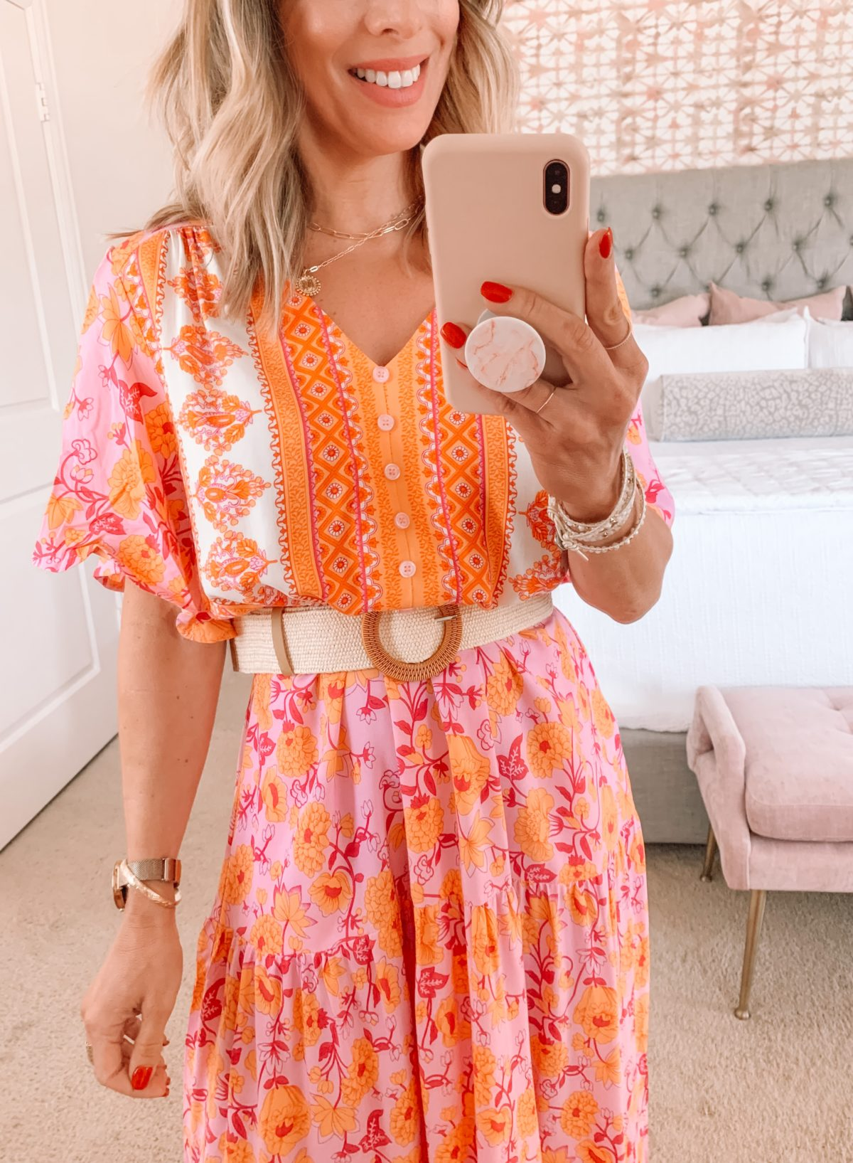 Amazon Fashion Faves, Boho Orange Dress, Belt, Sandals