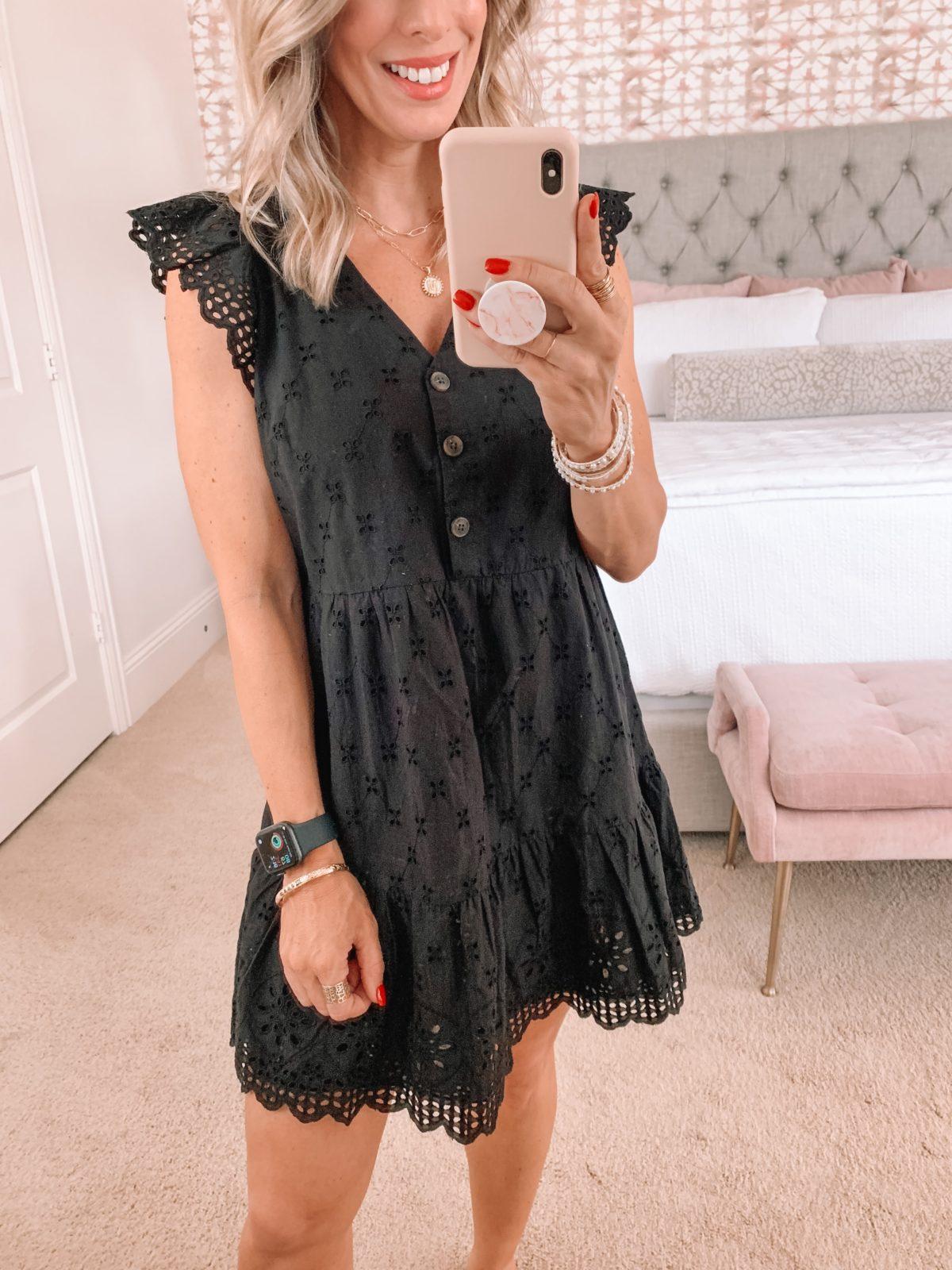 Dressing Room finds, Eyelet Dress in Black, Sandals