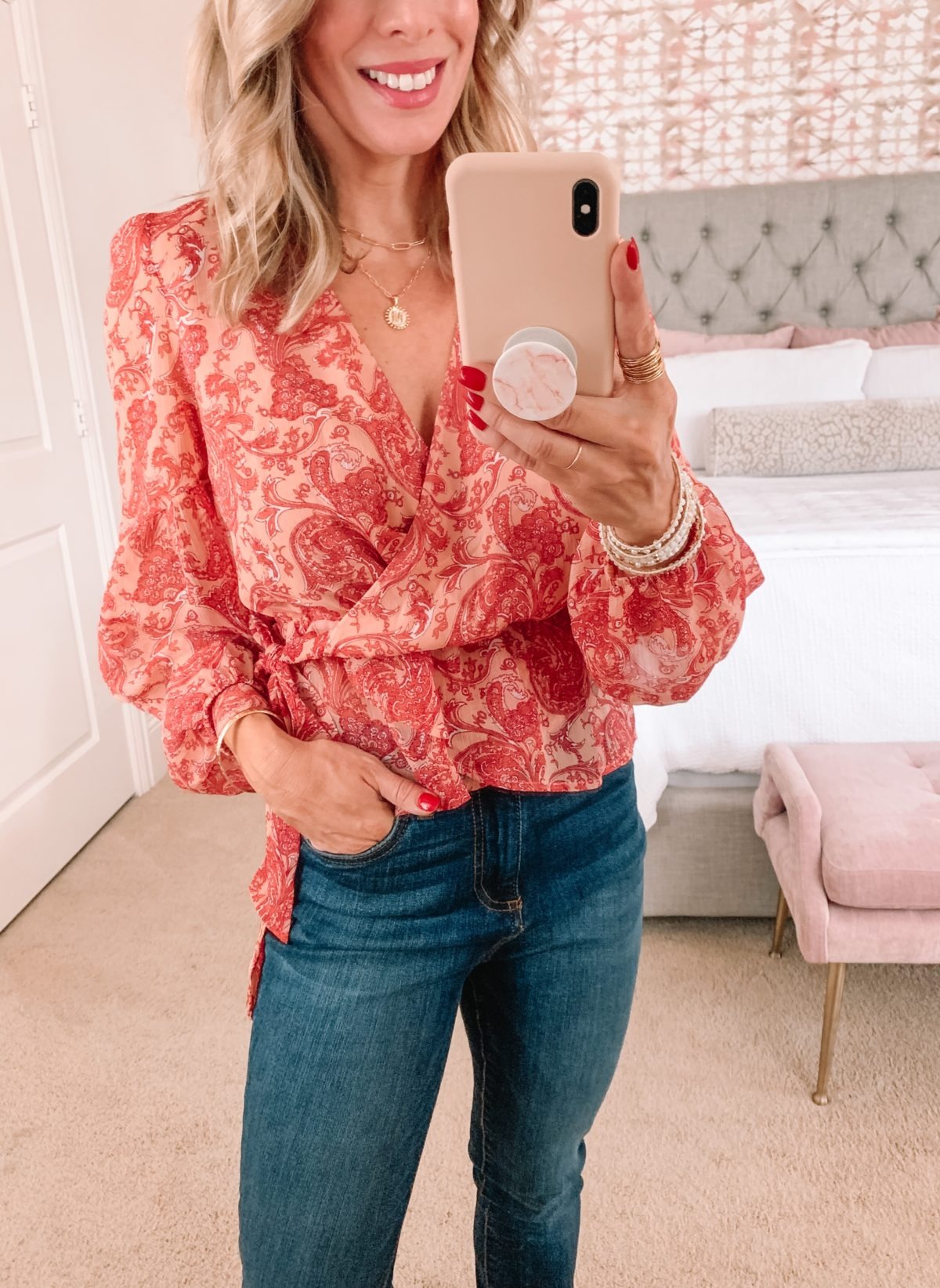Dressing Room Finds, Romantic Floral long sleeve Top, Jeans, and Heels