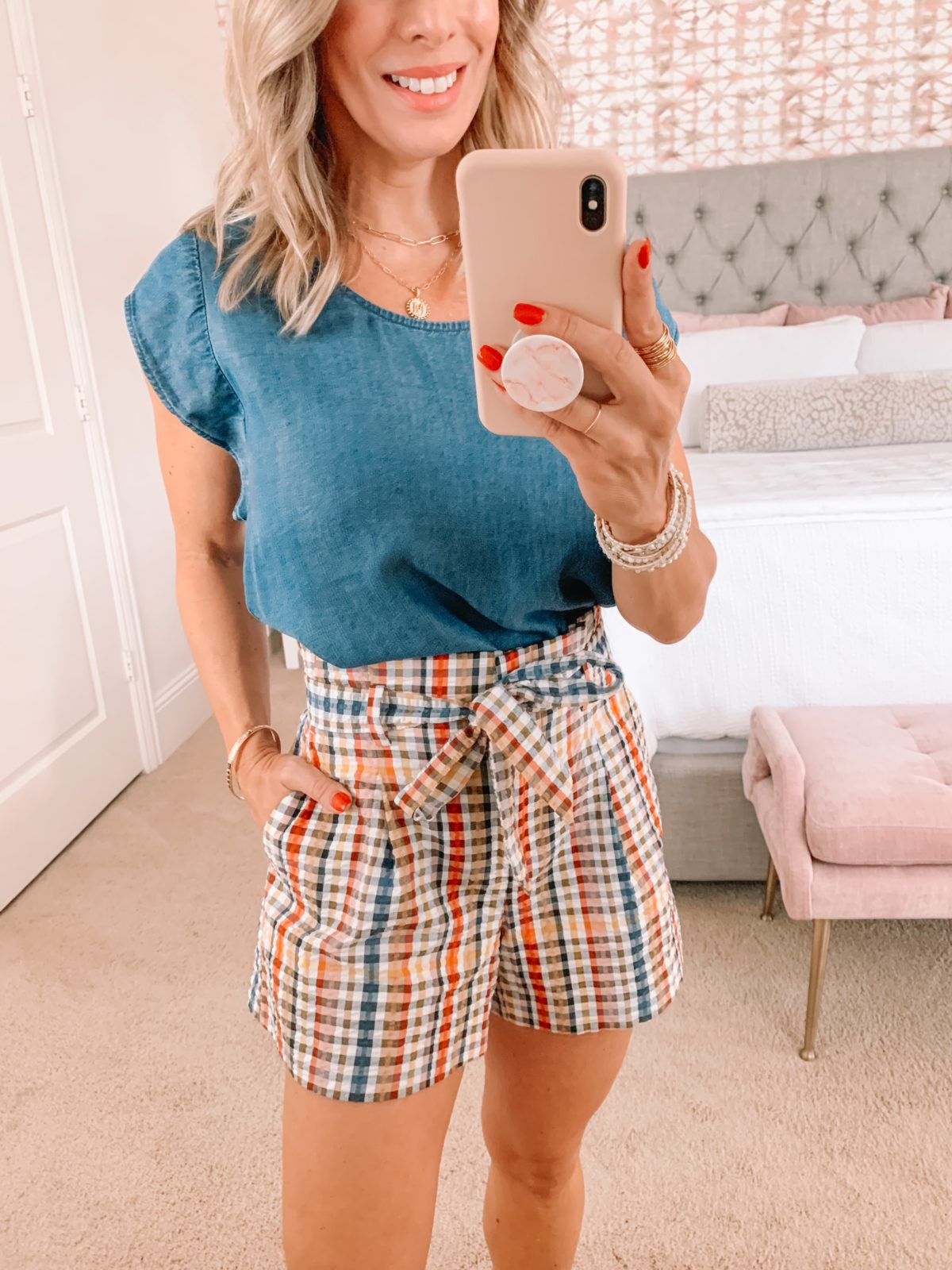 Dressing Room Finds LOFT Chambray Top and Plaid shorts, Studded Sandals