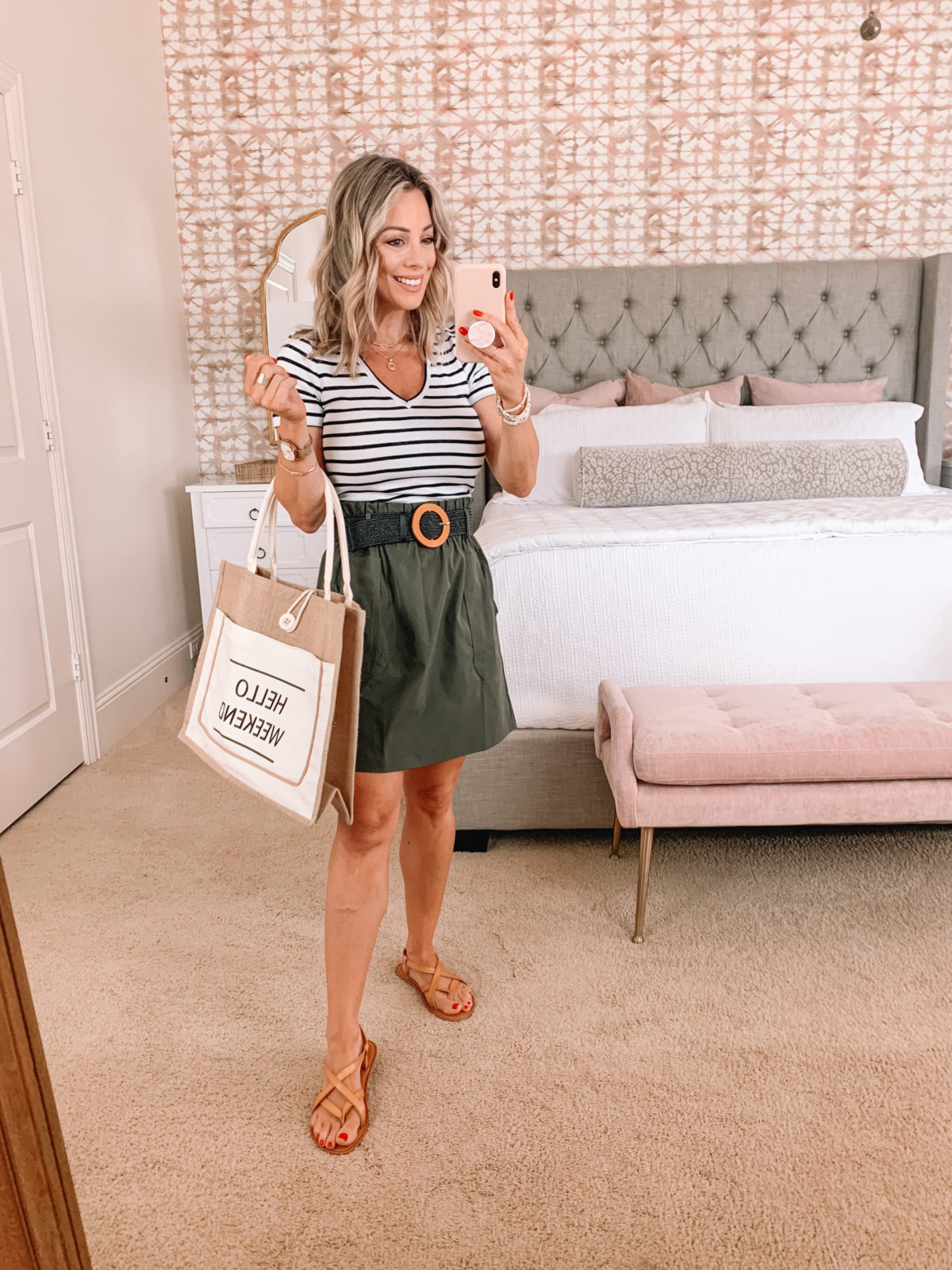 Amazon Fashion Faves, Stripe V Neck Tee, Olive Skirt, Sandals, Weekend Tote