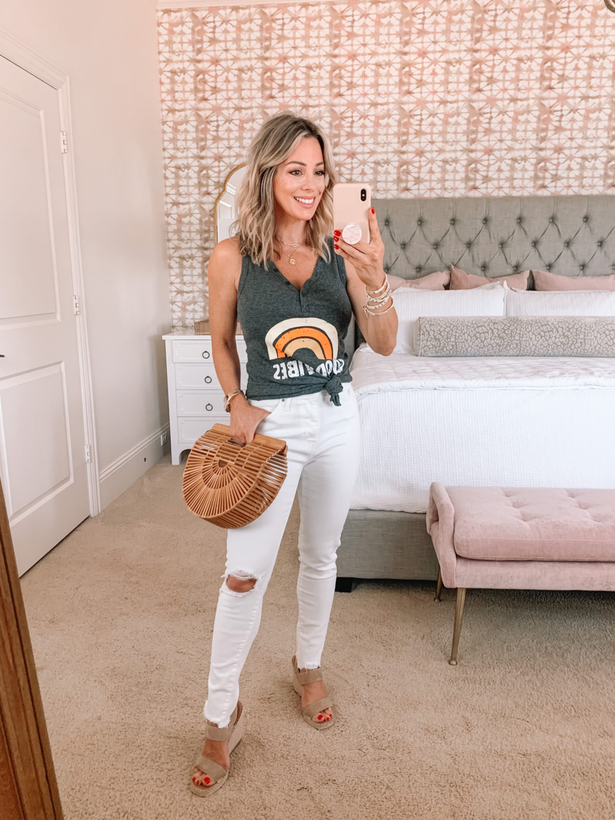 Amazon Fashion Faves, Good Vibes Tank, White Pants, Sandals, Bamboo Clutch