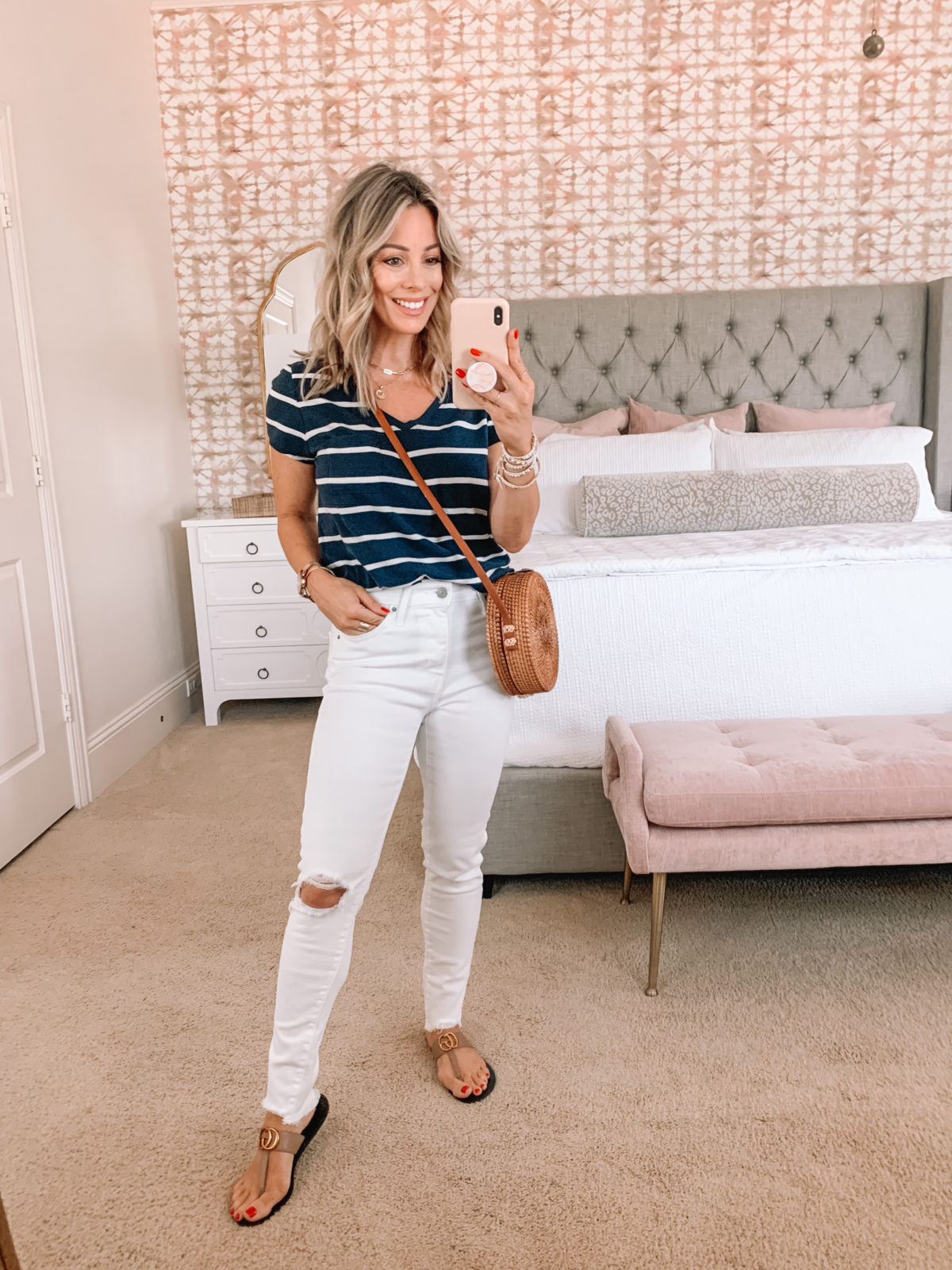 Amazon Fashion Faves, Stripe tee, White Jeans, Crossbody, Sandals