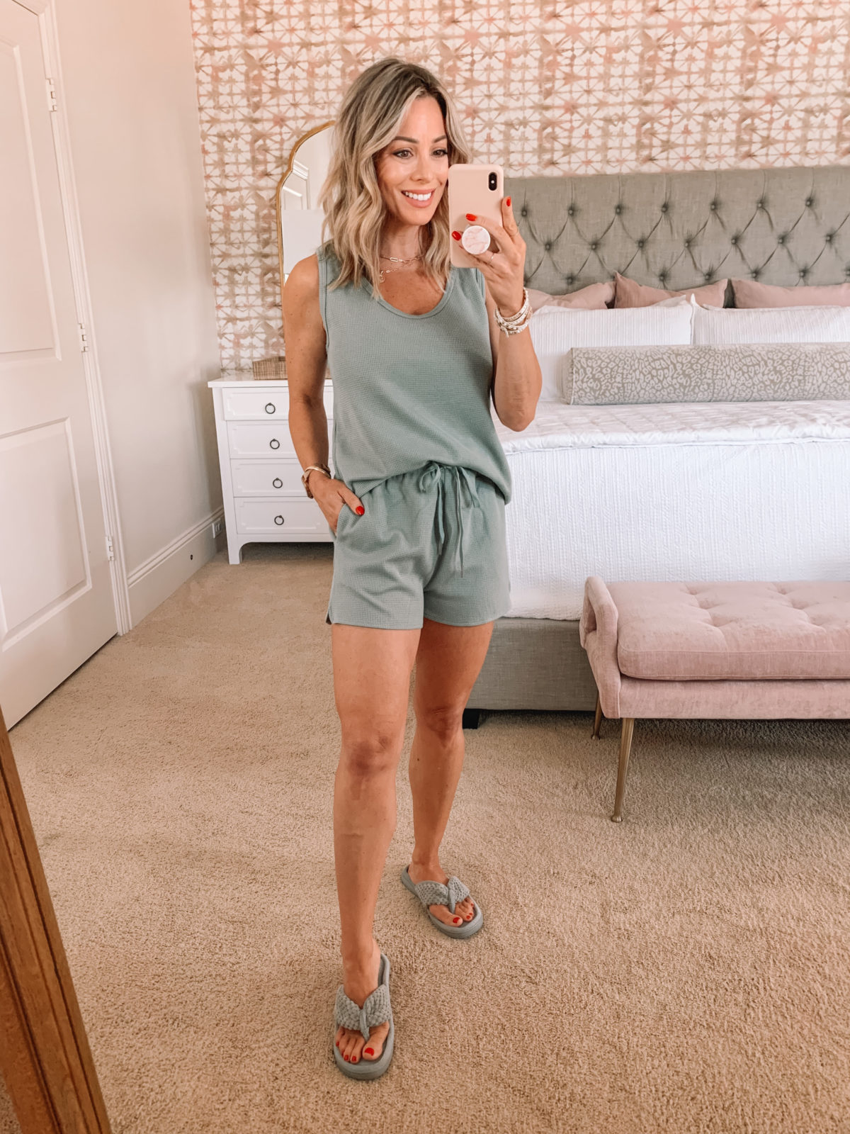Amazon Fashion Faves, Sage Green Pajama Set, Slippers