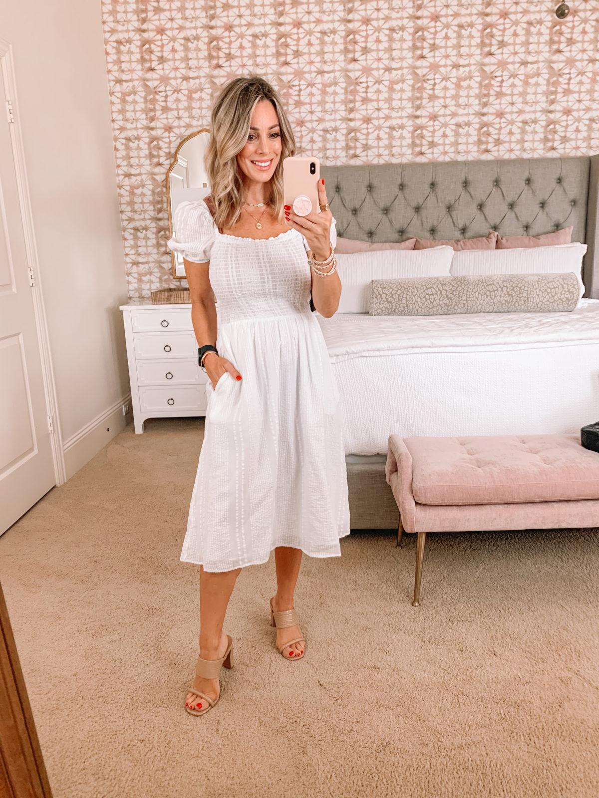 White Dress & Sandals