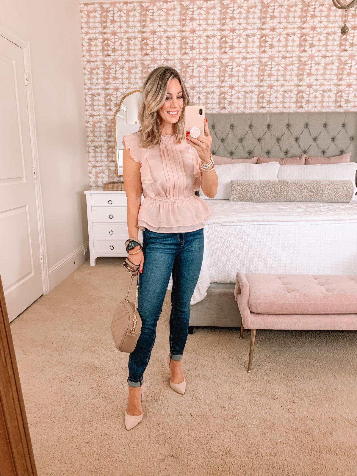 Dressing Room Finds, Pink Shimmer Peplum Top, Jeans, Heels