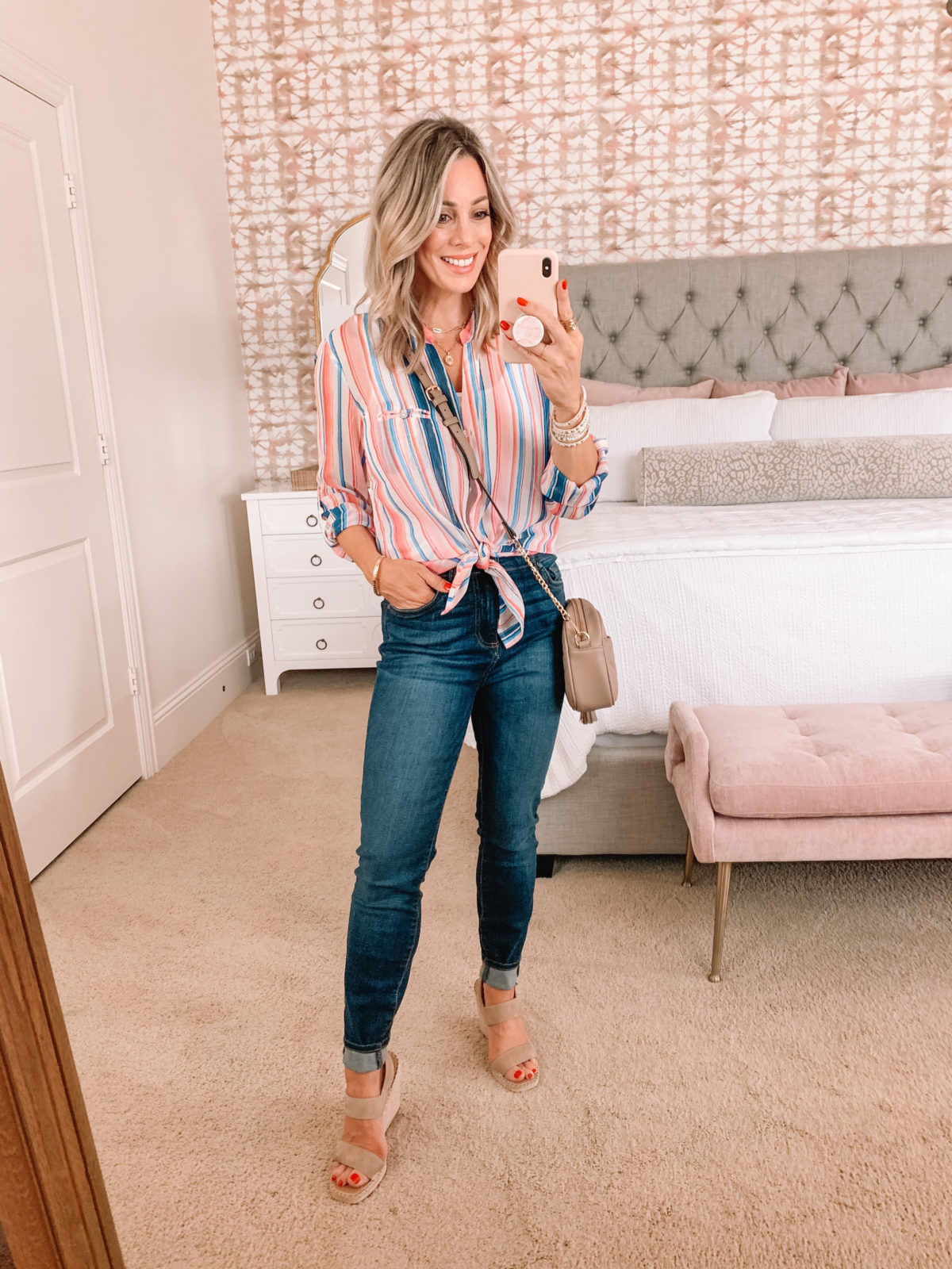 Dressing Room Finds, Stripe Button Down, Jeans, Wedges and Crossbody Bag