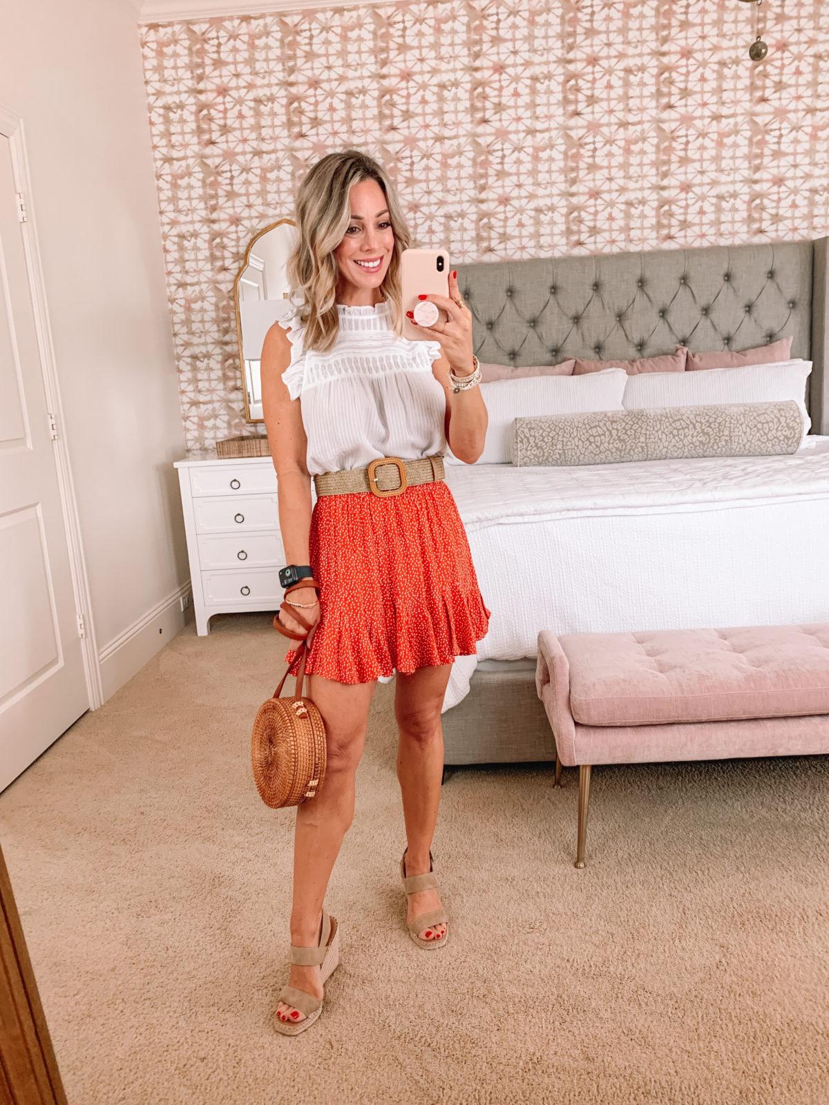 Dressing Room Finds LOFT, White Top, Skirt, Wedges, Woven Crossbody