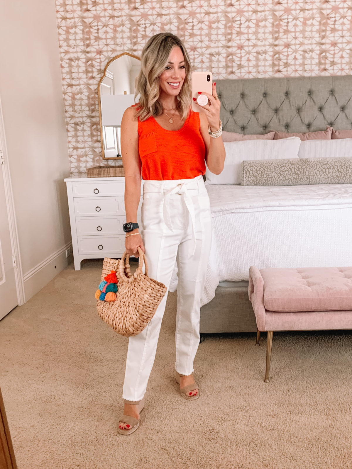 Dressing Room Finds, Orange Sweater Tank, White Tie Belt Pants, Wedges, Tote Bag with Tassel