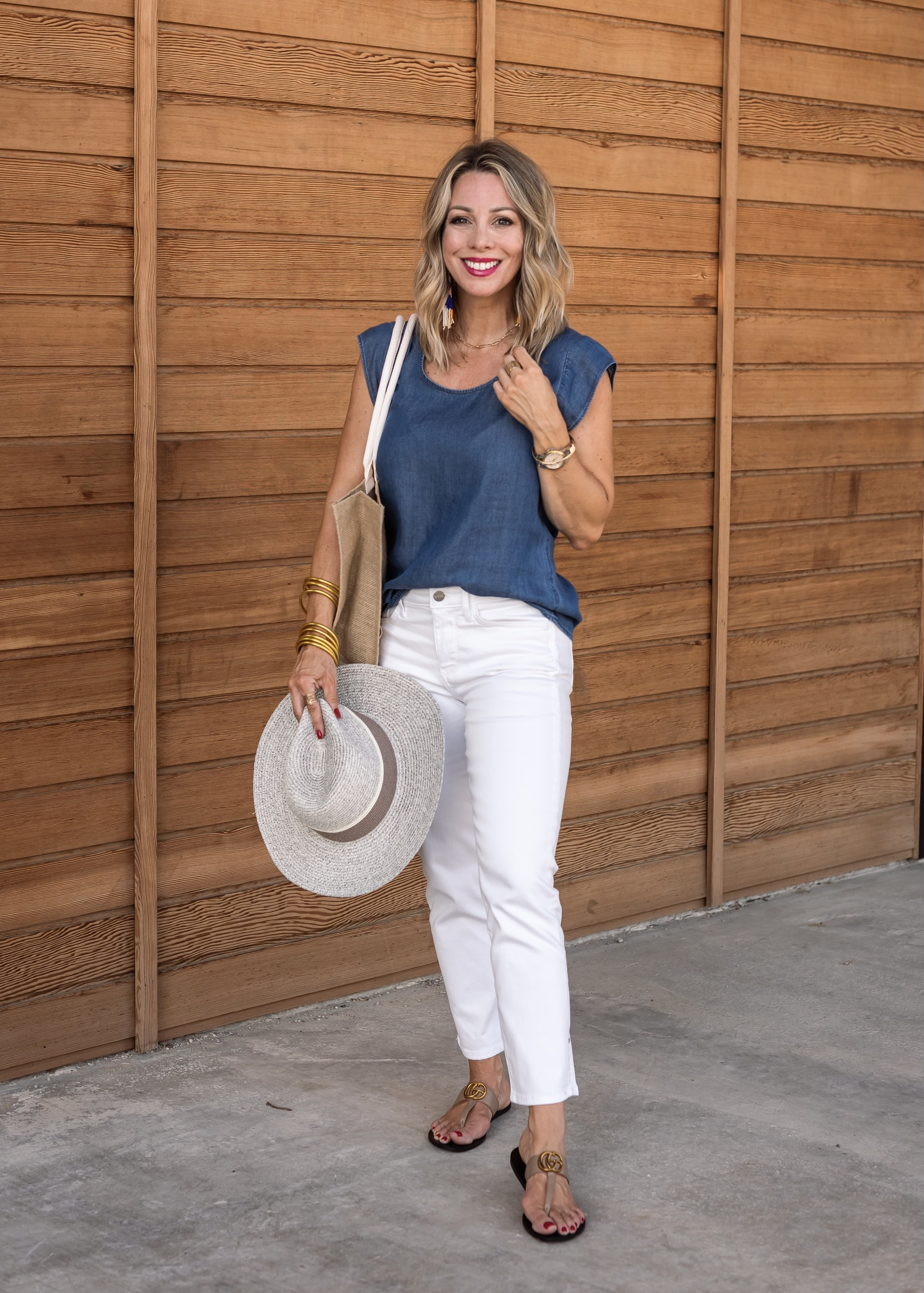 Blue Chambray Top and White Jeans with Sandals and Hat