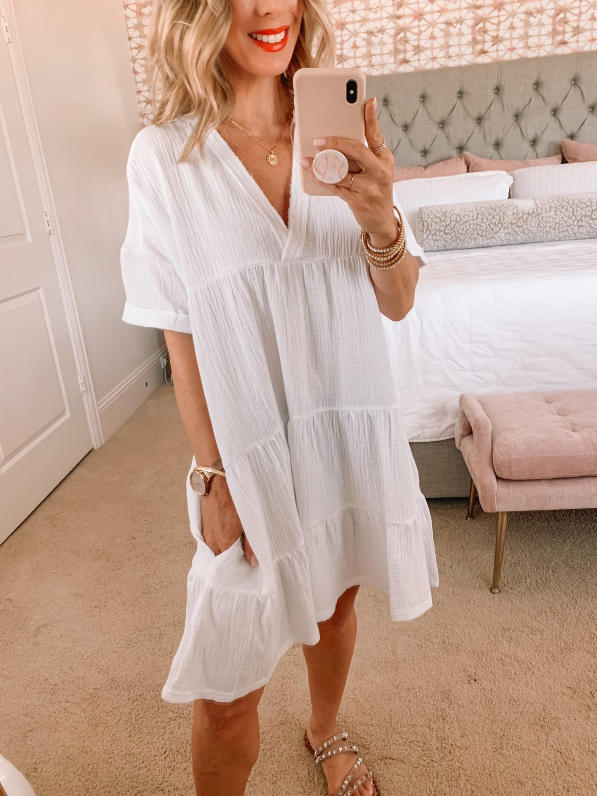 Amazon Fashion Faves, White Gauzy Dress, Studded Sandals, and Weekend Tote