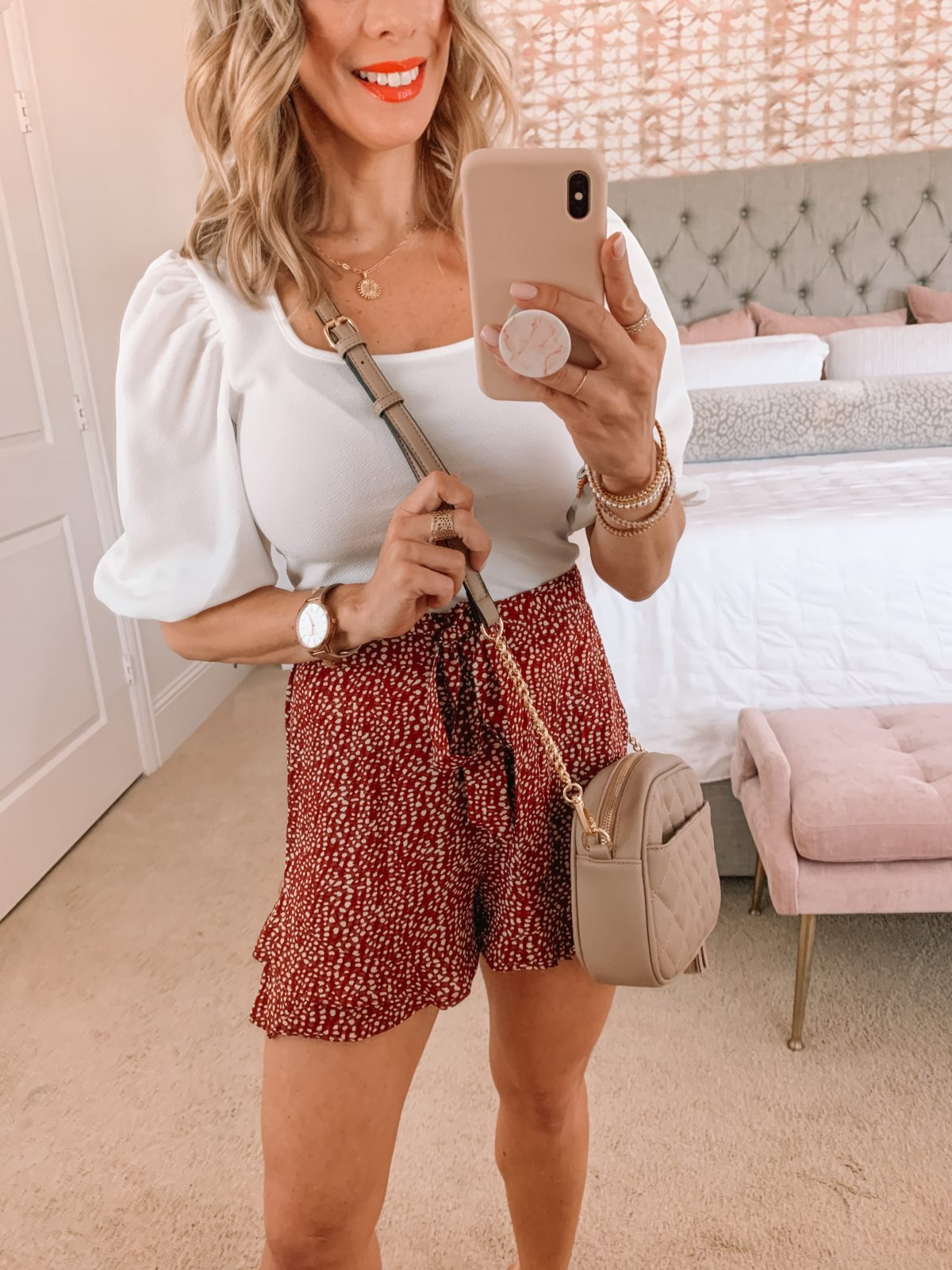 Amazon Fashion Faves, White Puff Sleeve Top and Ruffle Shorts with Sandals and Crossbody