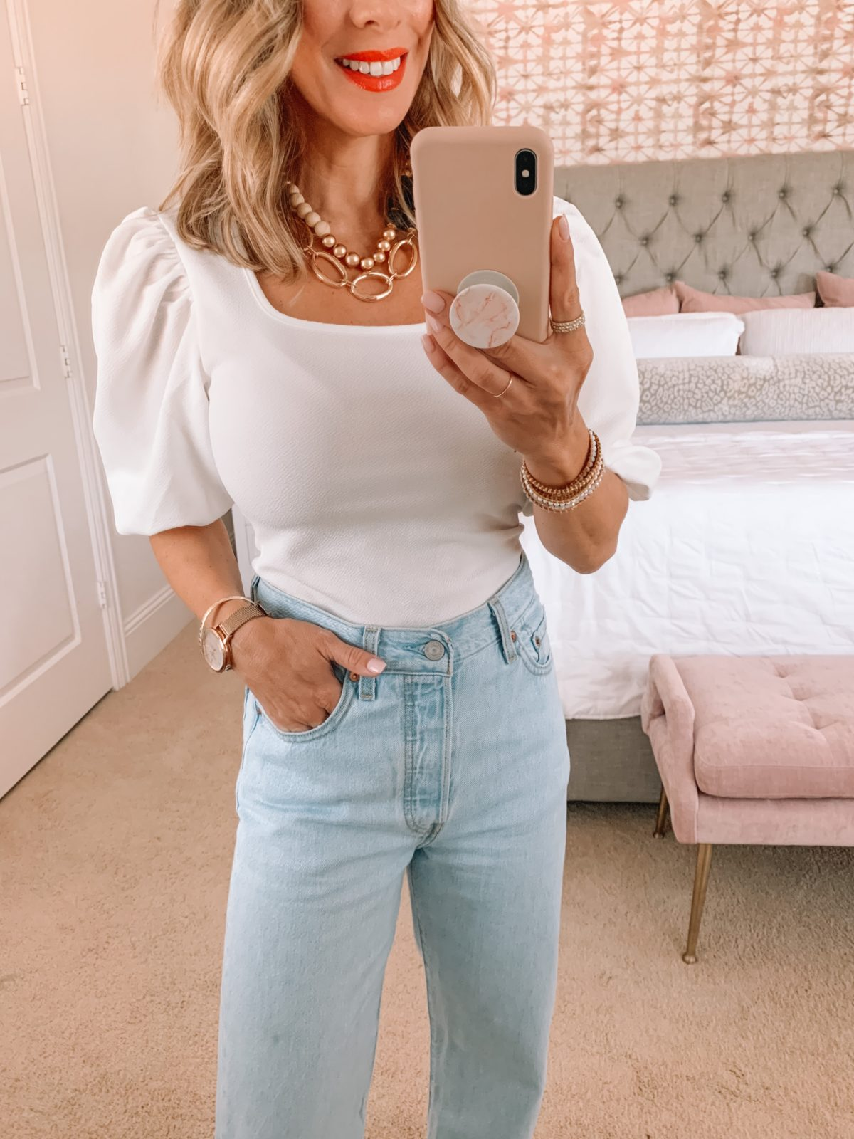 Amazon Fashion Faves, White Puff Sleeve Top and Wide Leg Jeans