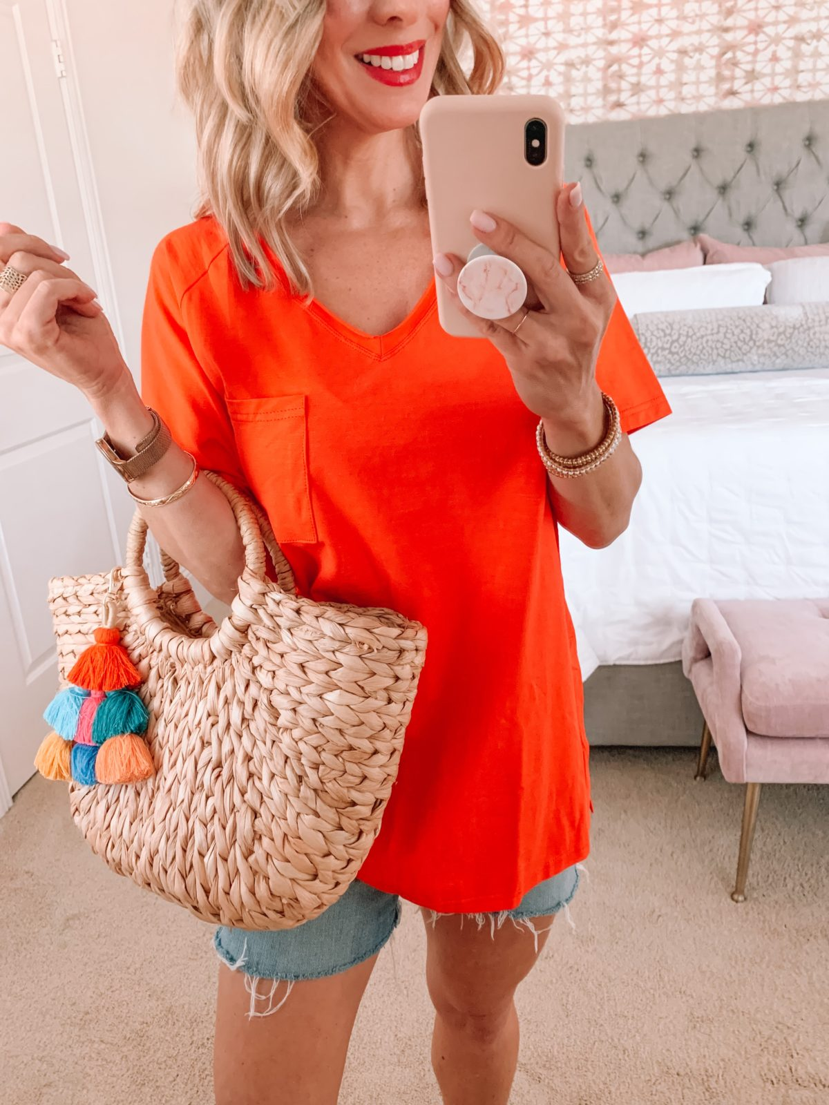 Amazon Fashion Faves, Orange Tee, Denim Shorts, Woven Tote with Tassel