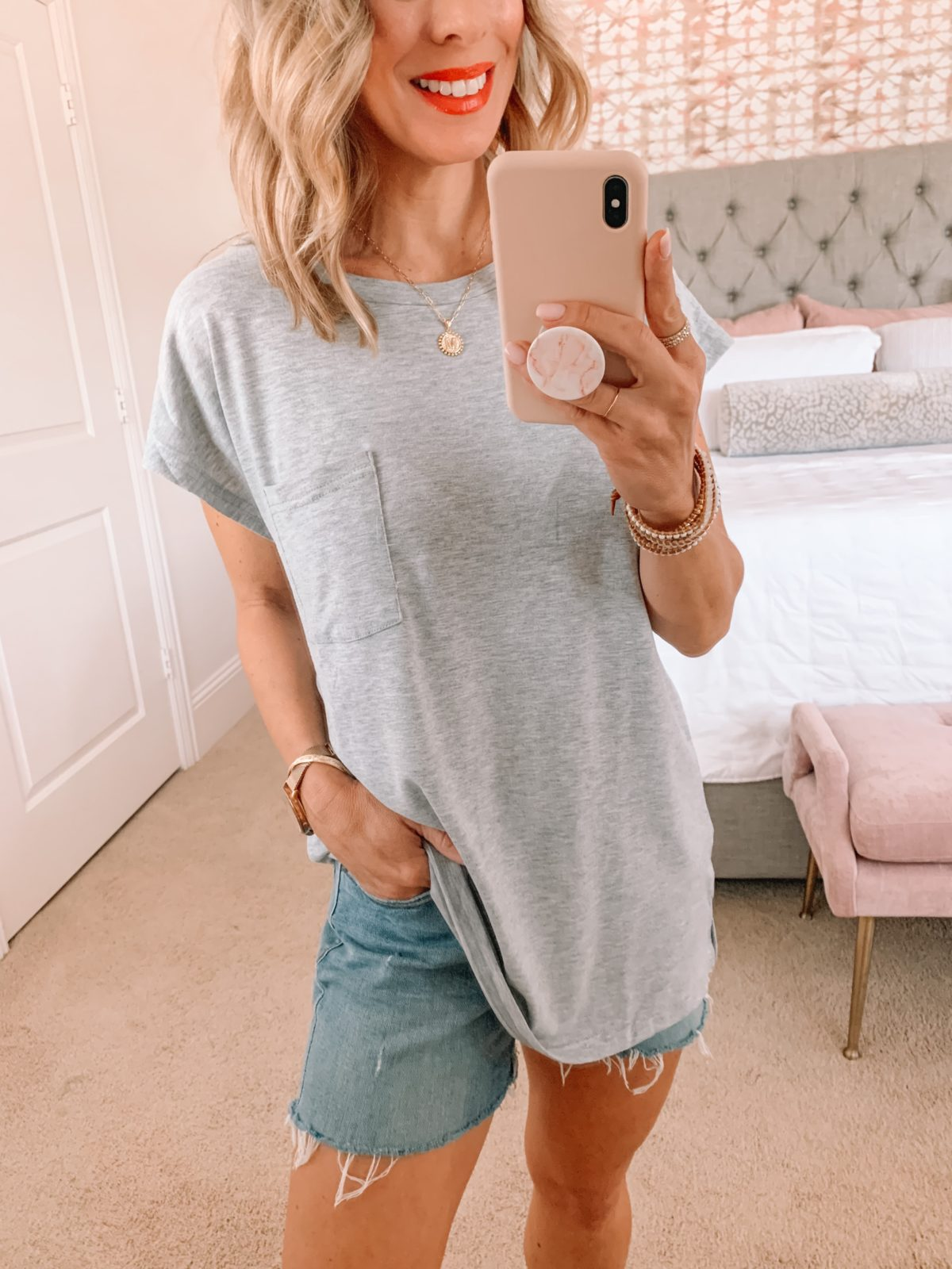 Amazon Fashion Faves, Grey Cap Sleeve Tee and Denim Shorts with Sandals