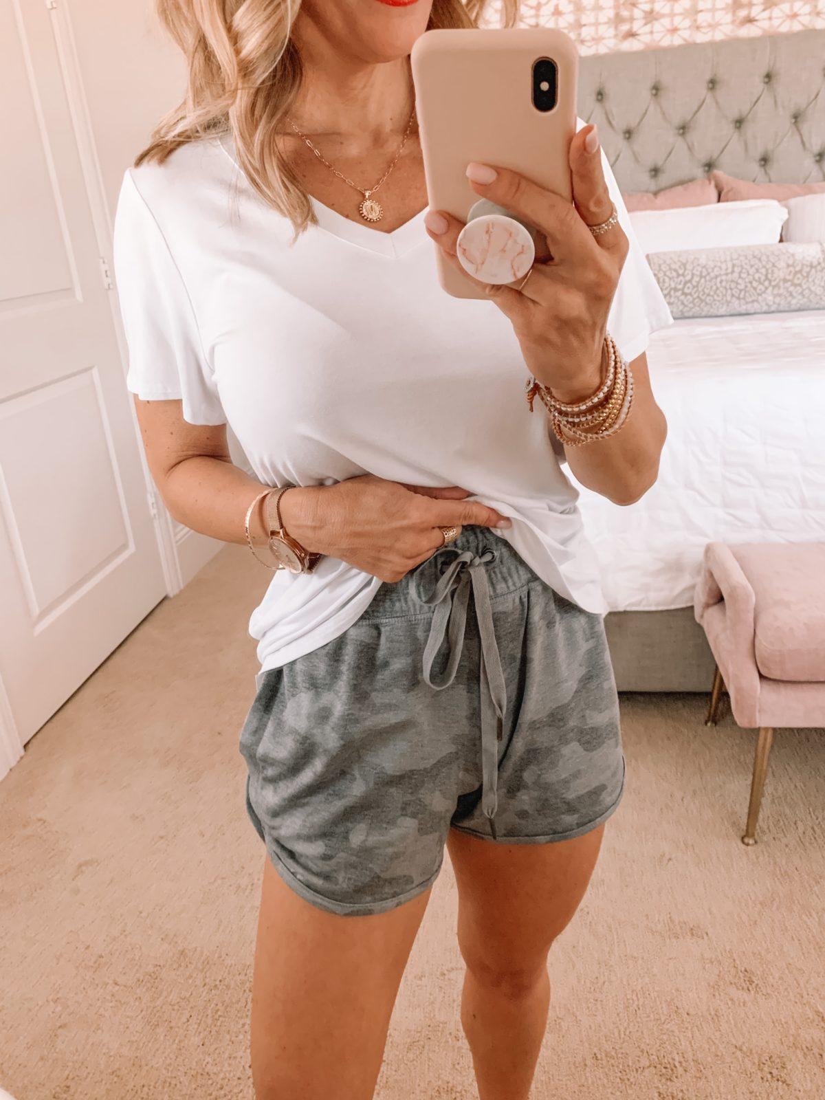 Amazon Fashion Faves, White Tee and Camo Shorts