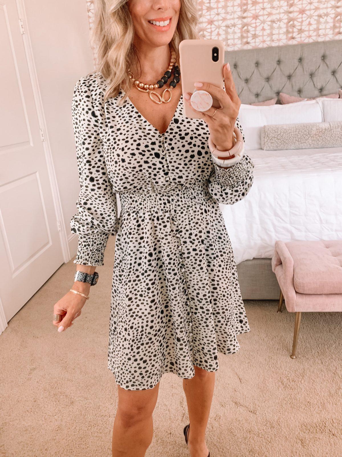 Dressing Room Finds, Leopard Dot Long Sleeve Mini Dress, Sandals, and Crossbody