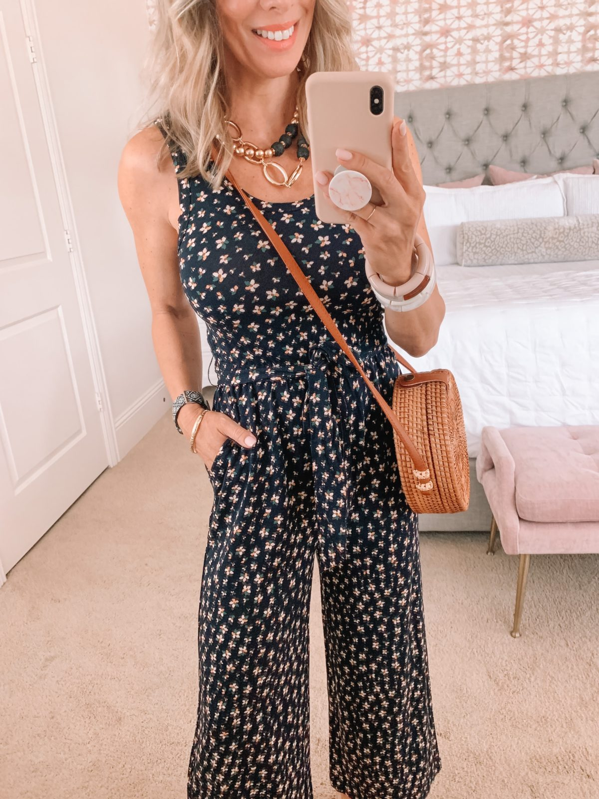 Dressing Room Finds, Floral Jumper with Heels and Crossbody