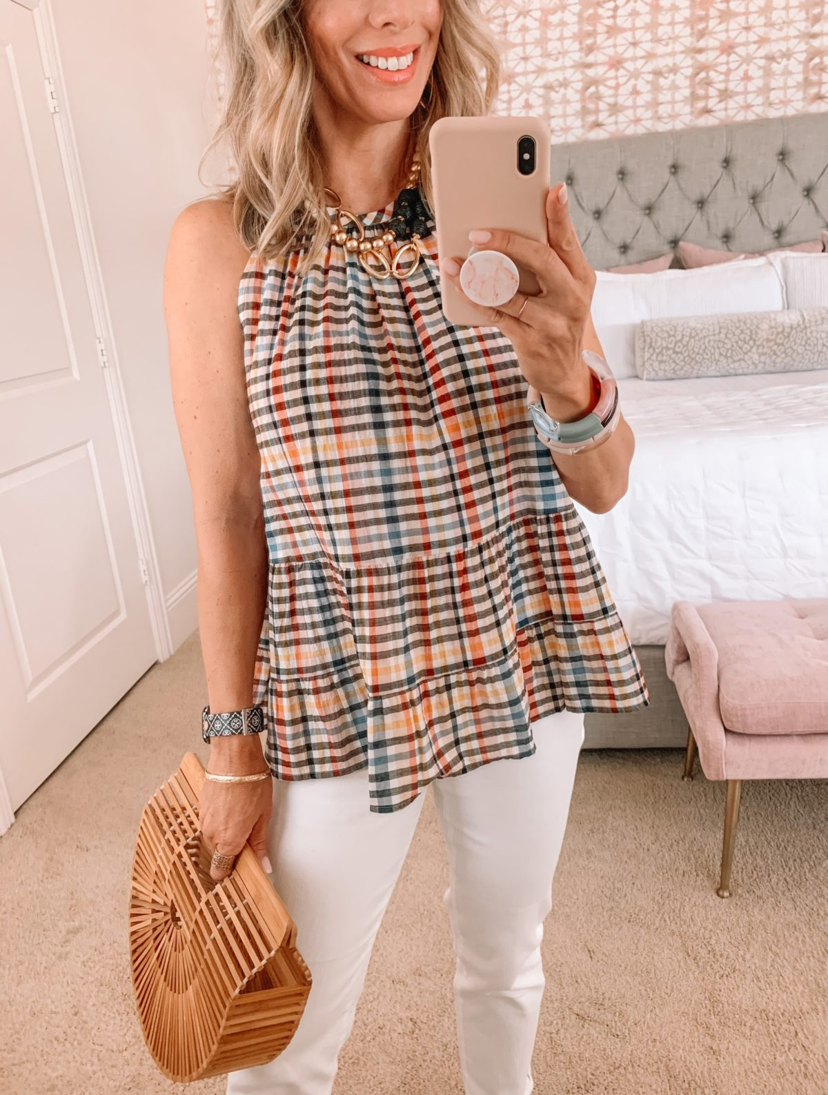 Dressing Room Finds, Plaid Halter Top, White Jeans, Wedges, Bamboo Clutch