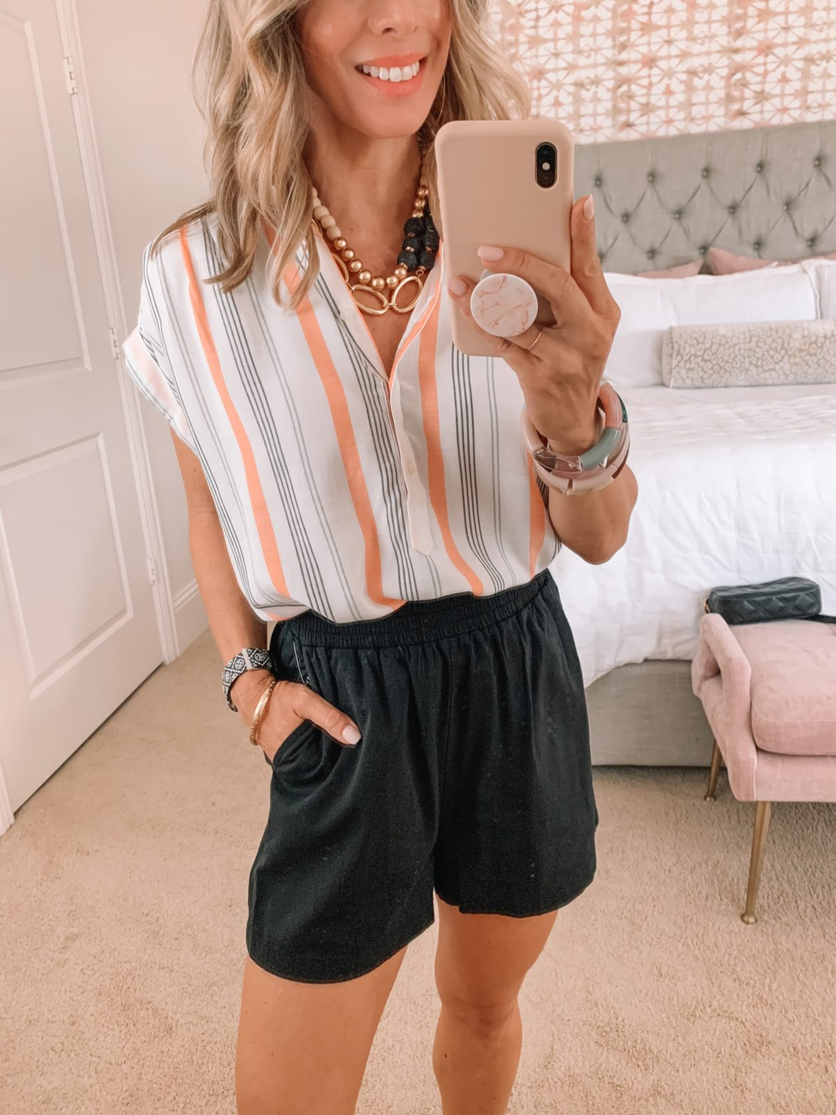 Dressing Room Finds, Stripe Top , Black Knit shorts, Sandals, Tote