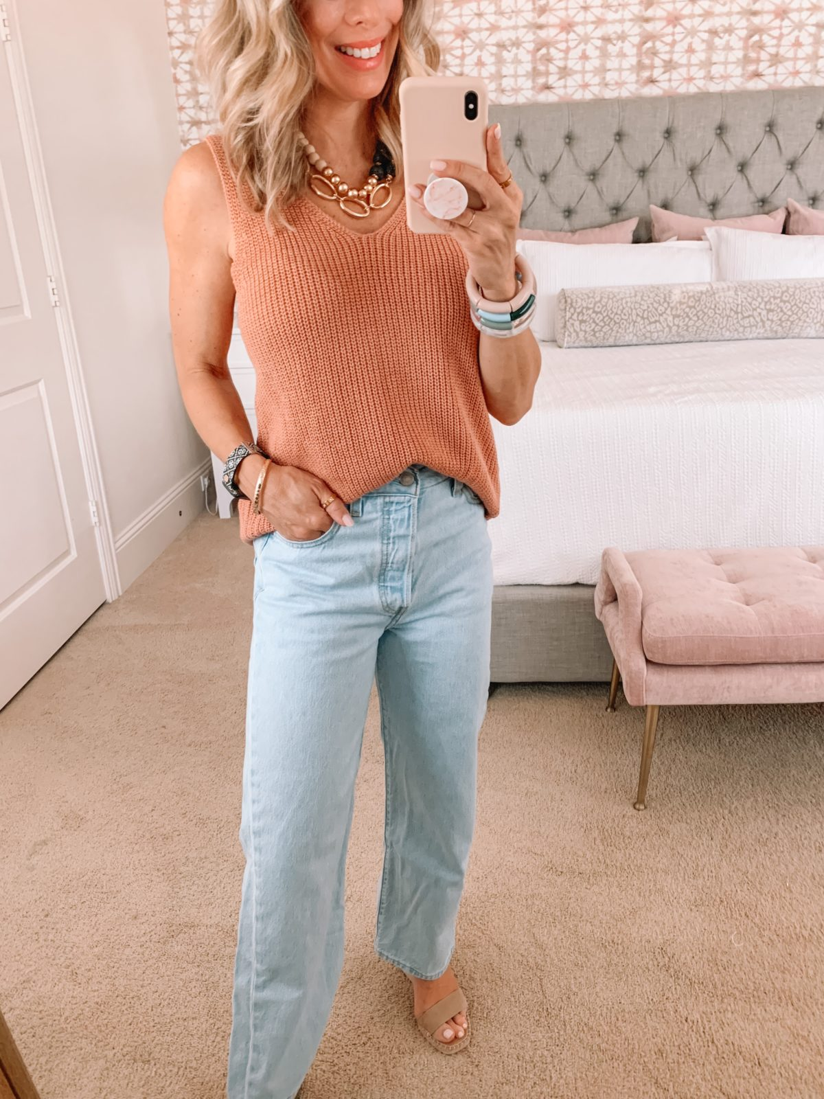 Amazon Fashion Faves, Pink Sweater Tank and Wide Leg Jeans with Wedge Sandals