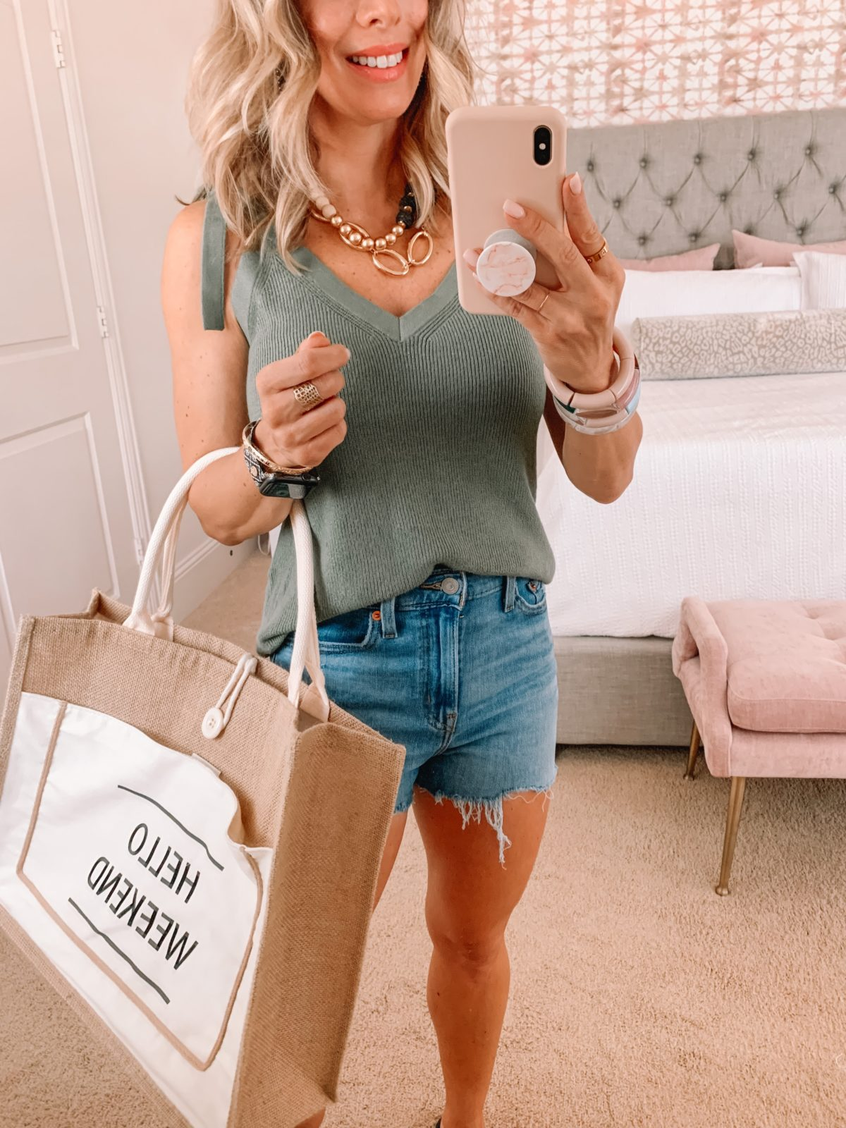 Amazon Fashion Faves, Sage Sweater Tie Tank, and Jean Shorts with tote
