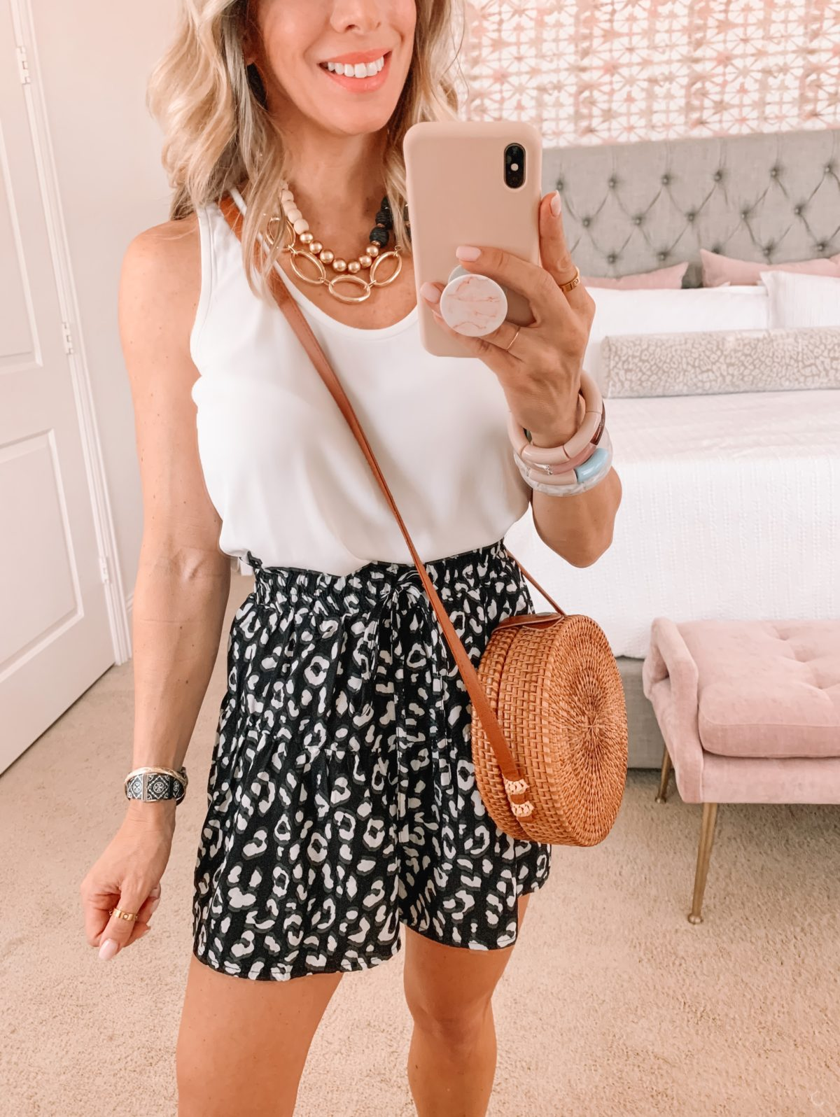 Amazon Fashion Faves, White Cami and Leopard Dot Shorts and Crossbody