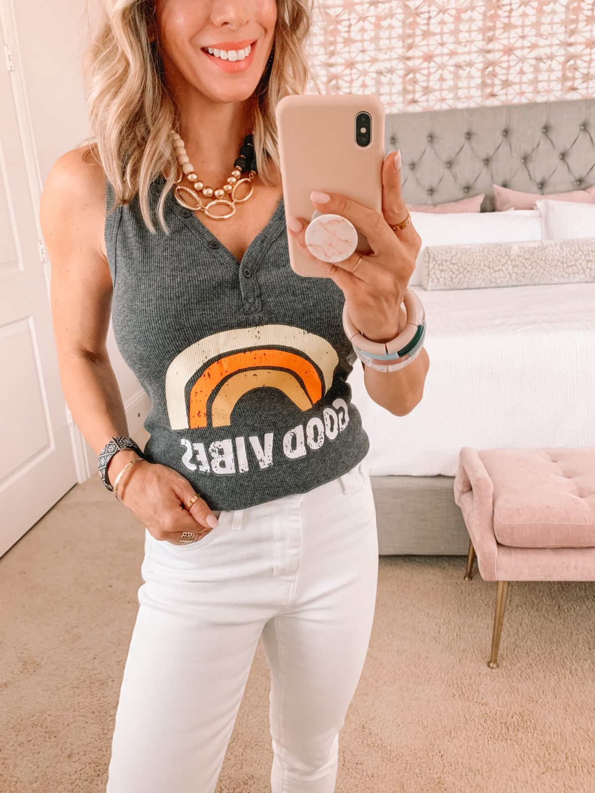Amazon Fashion Faves, Good Vibes Tank and Jeans
