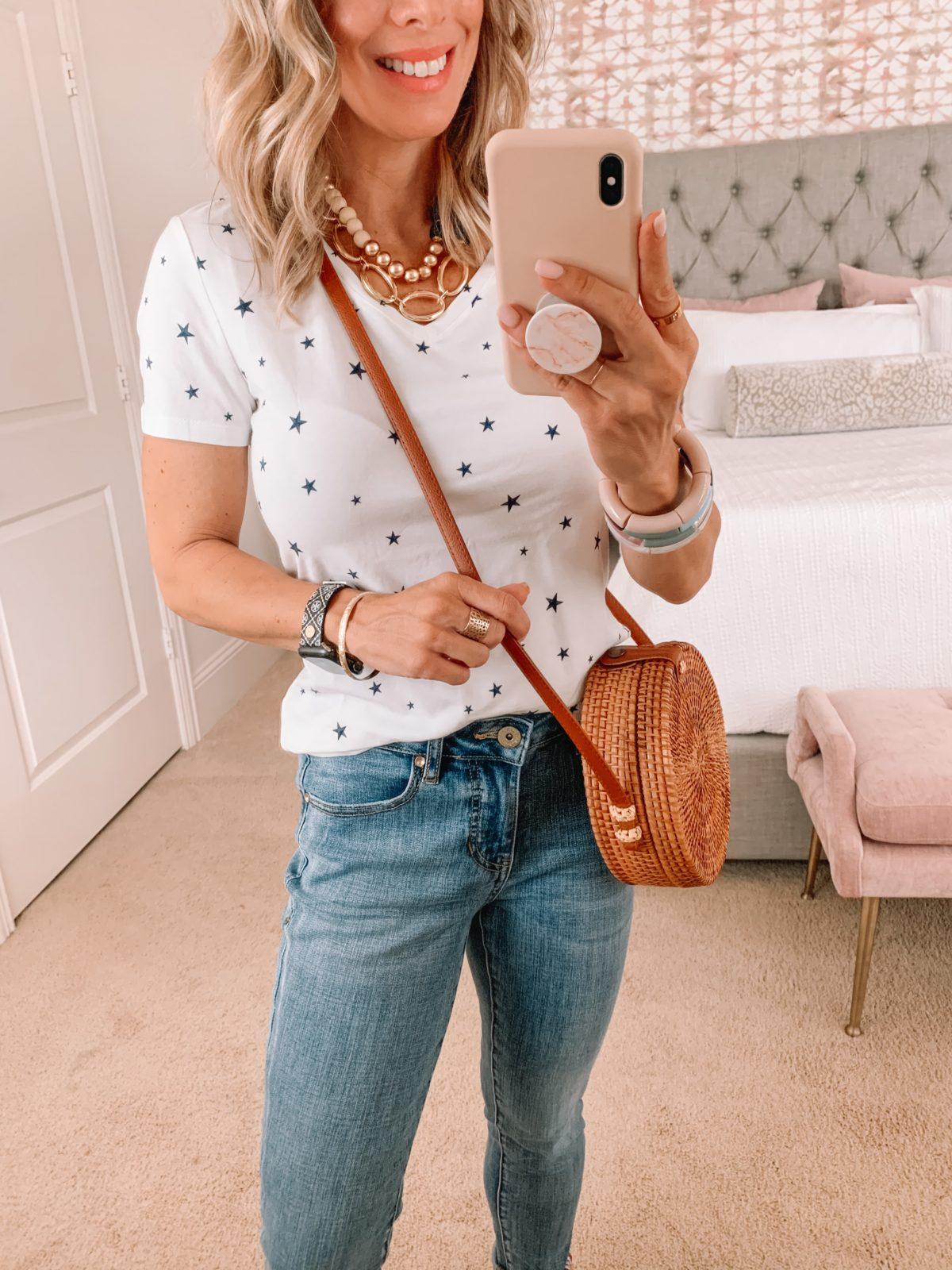 Amazon Fashion Faves, Start Tee, Jeans, Circle Crossbody