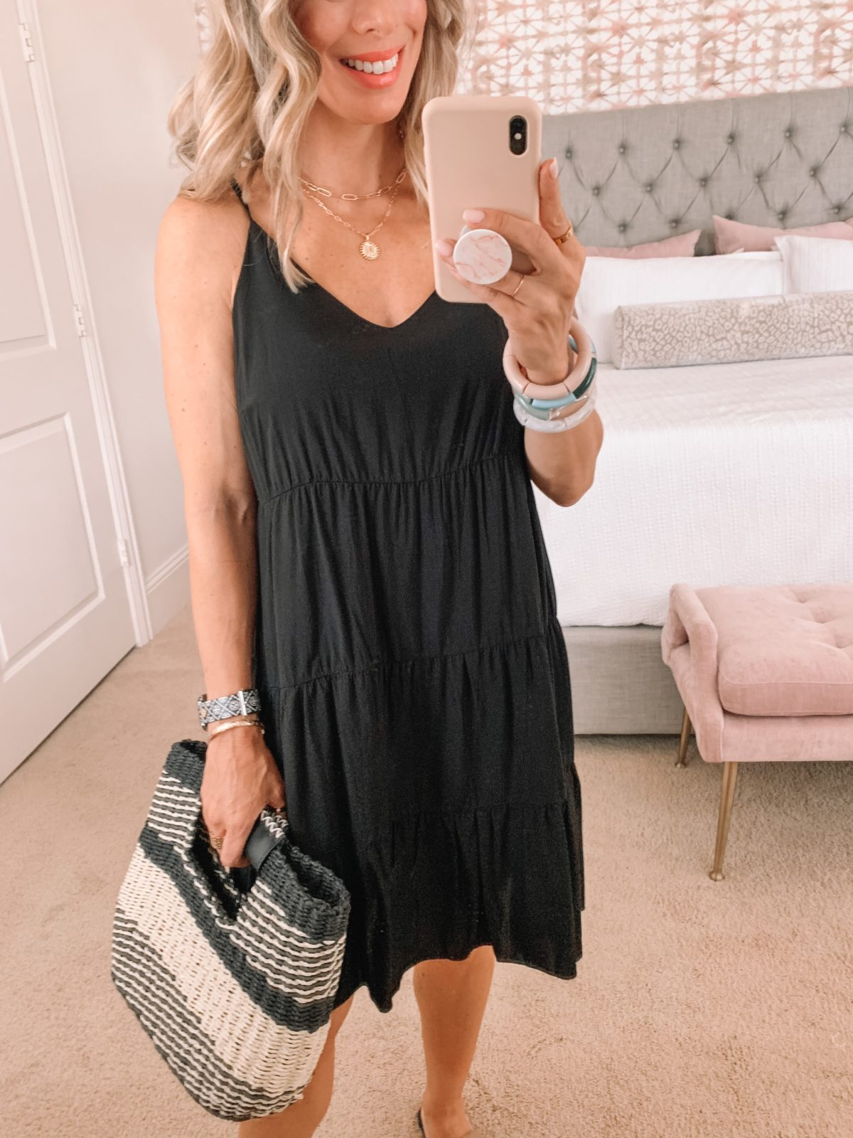 Amazon Fashion Faves, Black Tiered Shift Dress and Woven Clutch