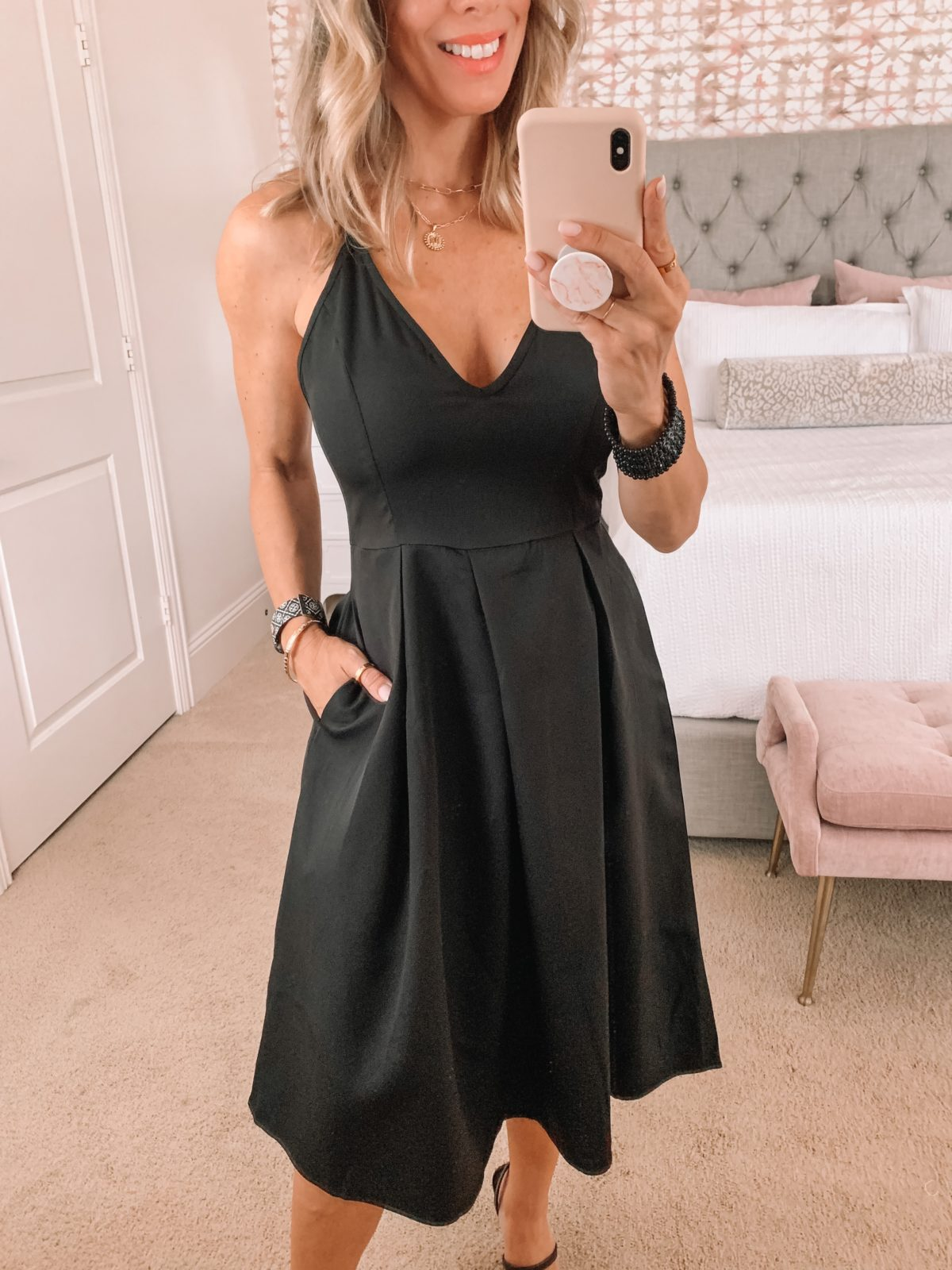 Amazon Fashion Faves, Black V Neck, Fit and Flare dress and Heels