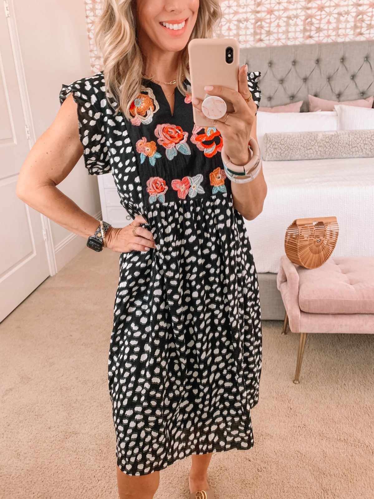 Amazon Fashion Faves, Polka Dot Embroidered Dress and Sandals