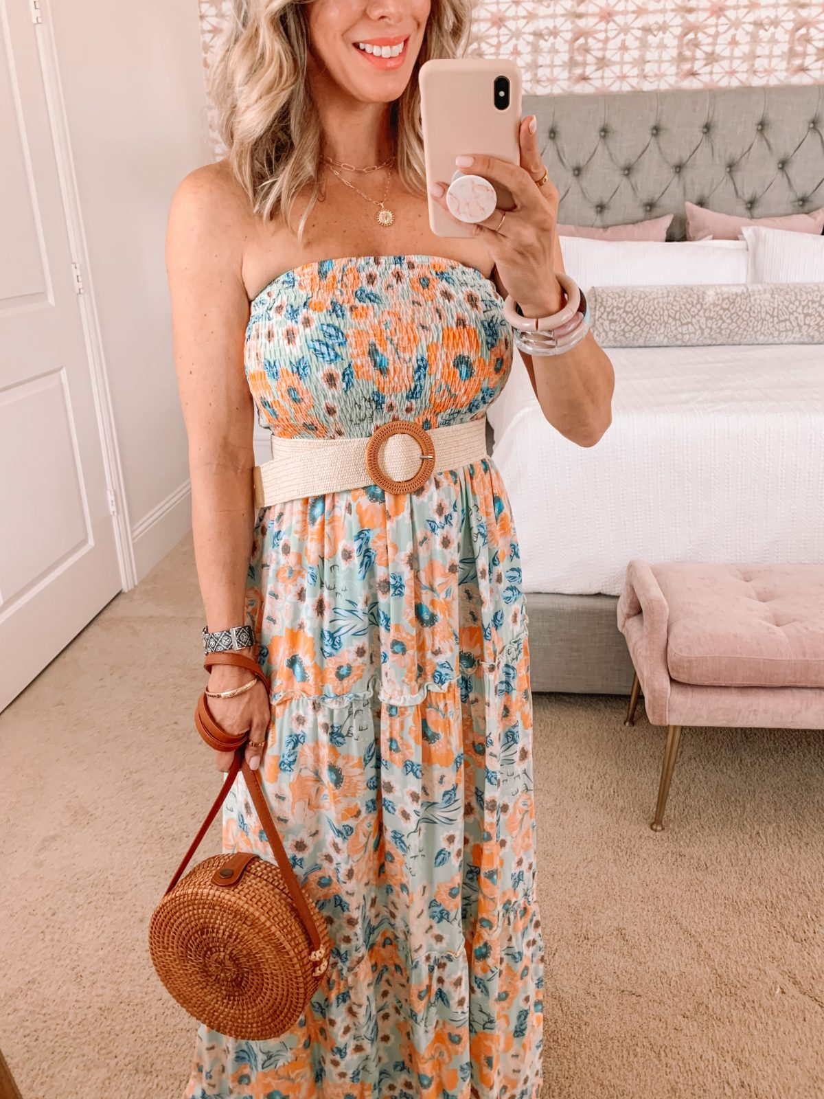 Amazon Fashion Faves, Floral Strapless Maxi Dress with woven Belt