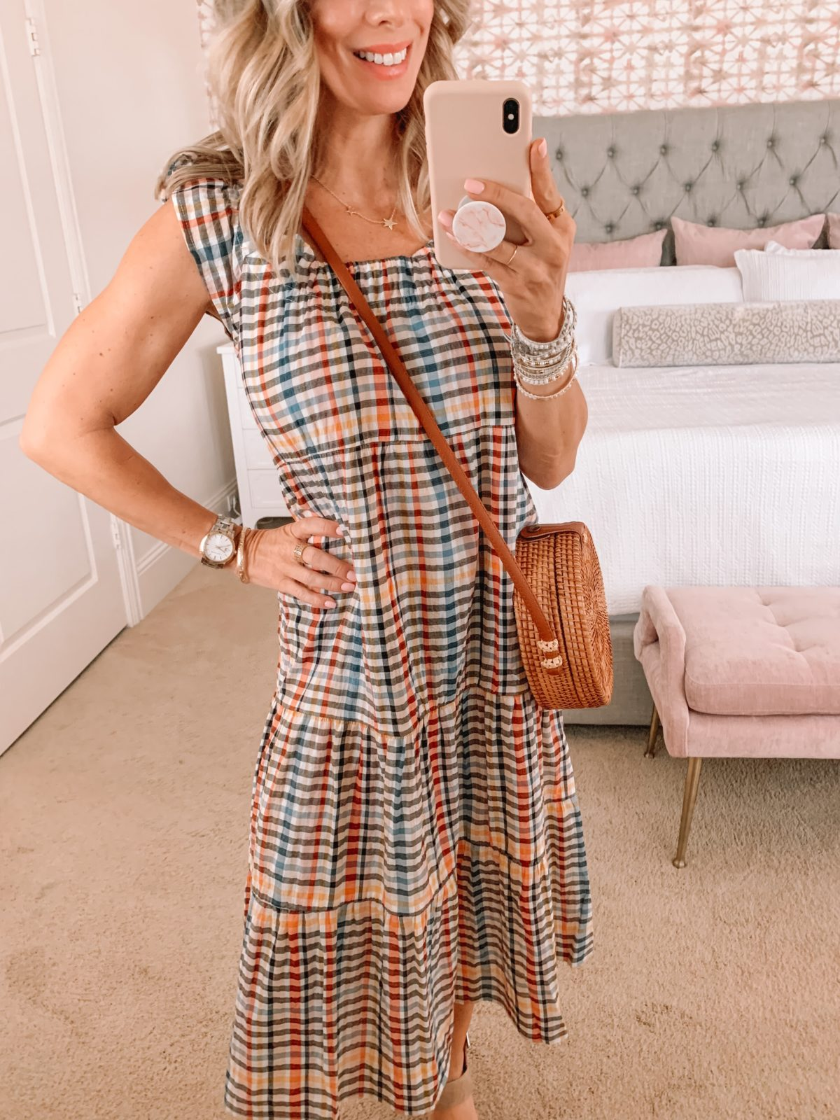 Dressing Room Finds LOFT, Plaid Dress with Ruffle Sleeve and Wedges and Crossbody