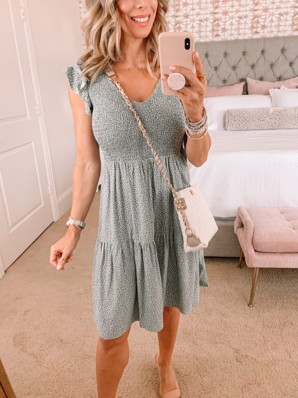 Dressing Room Finds LOFT, Smocked Top Dress Sage green and sandals with Crossbody
