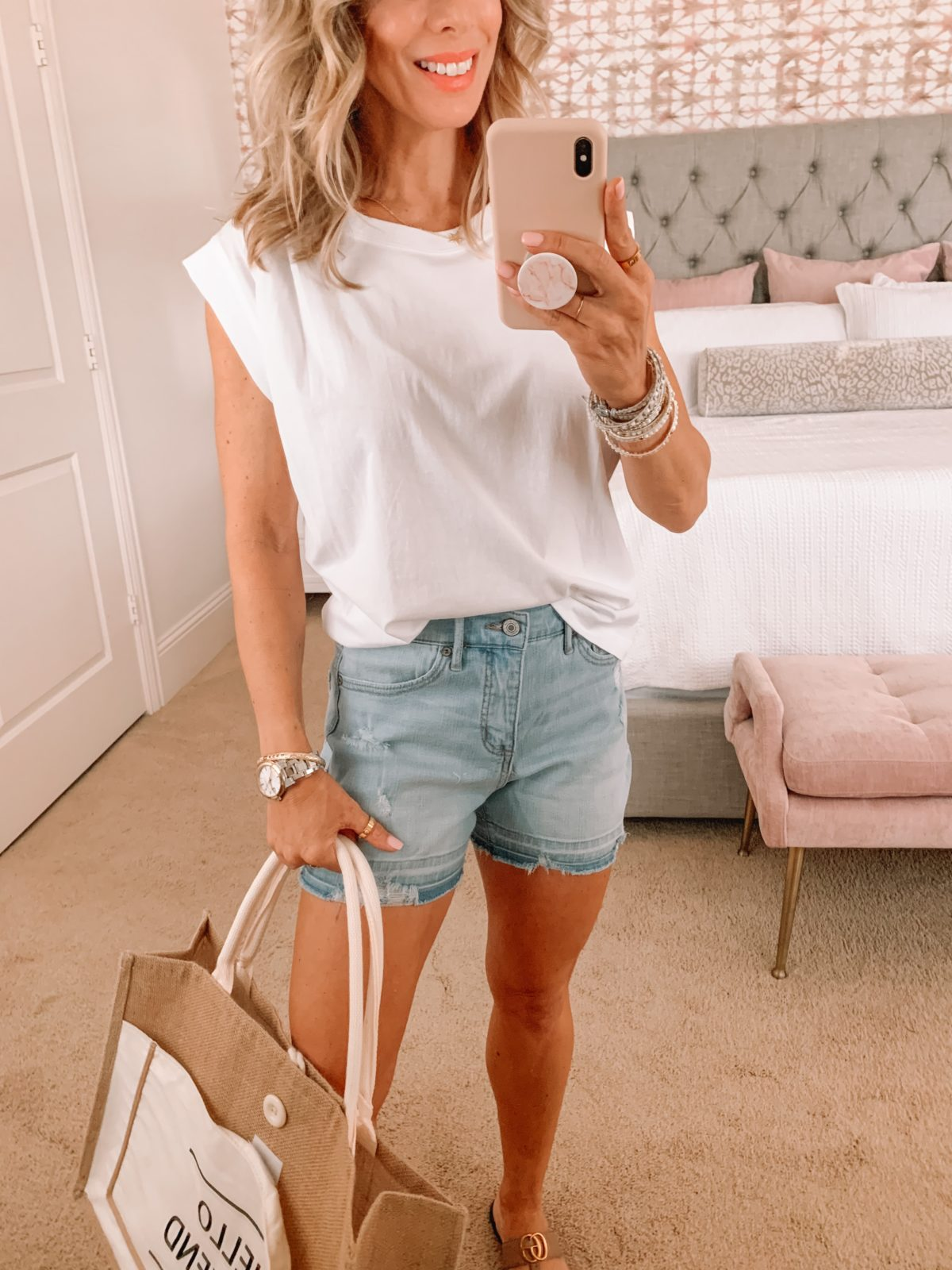Dressing Room Finds, LOFT, White Muscle Tank, Denim Shorts, Sandals and weekend tote