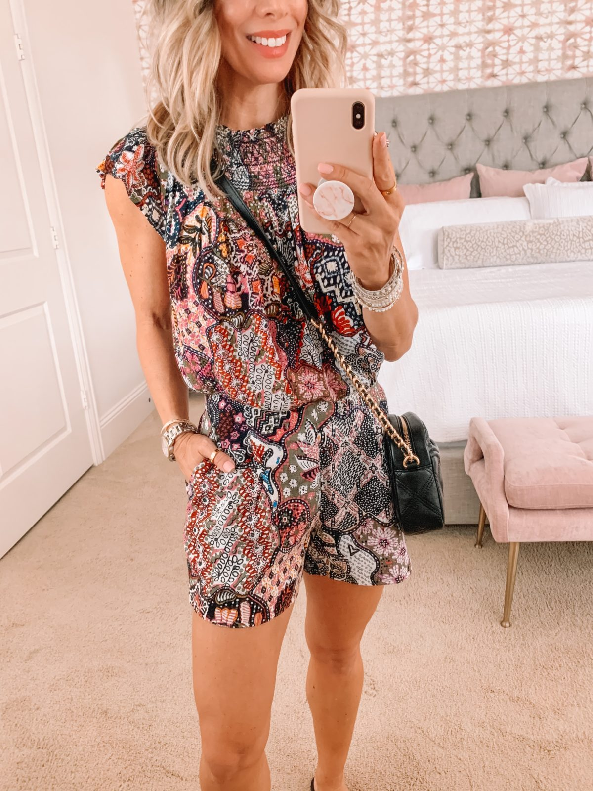 Dressing Room Finds LOFT, Paisley Print TOp and matching Shorts, Crossbody