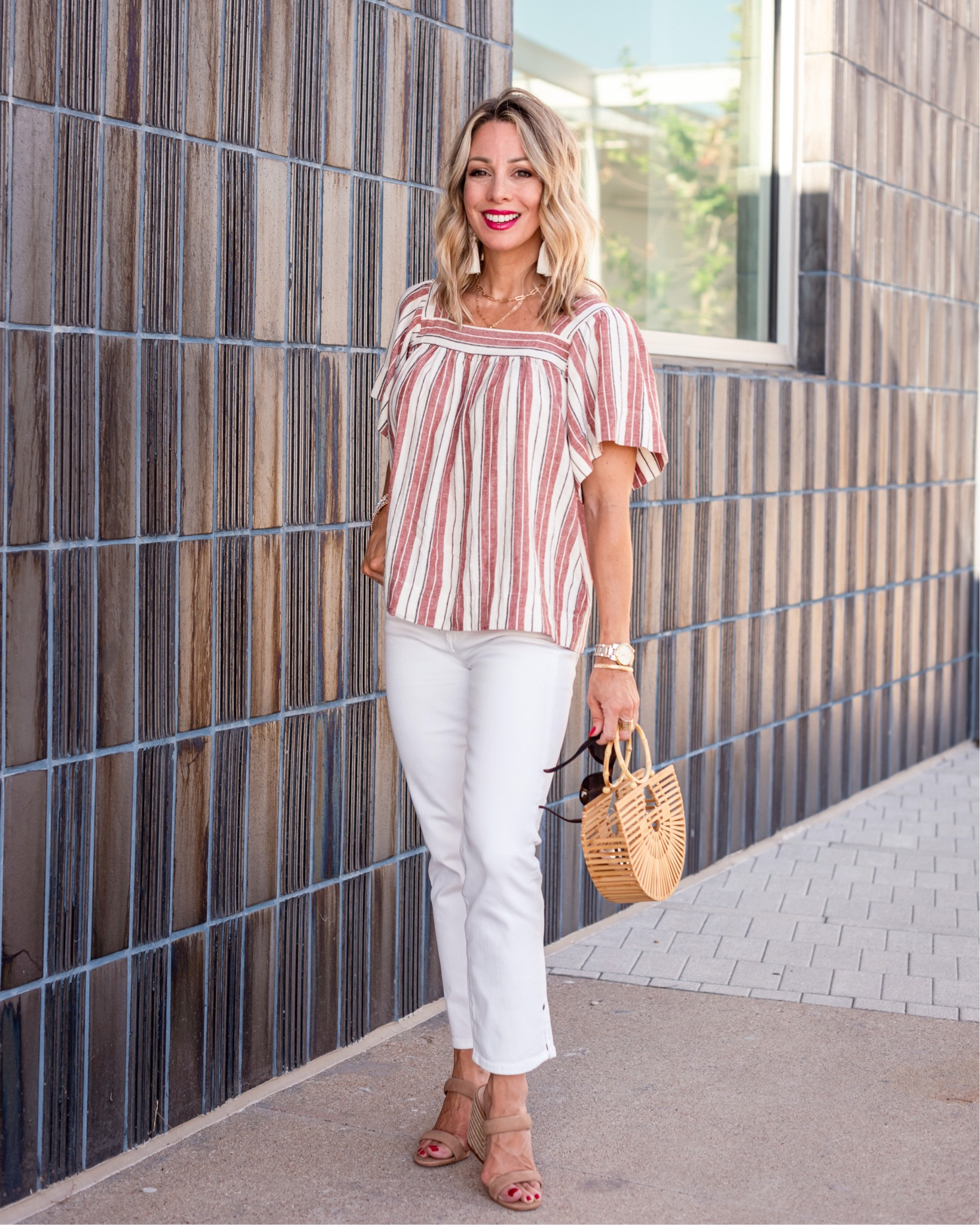 Striped Square Neck Top and White Jeans and Sandals with Bamboo clutch