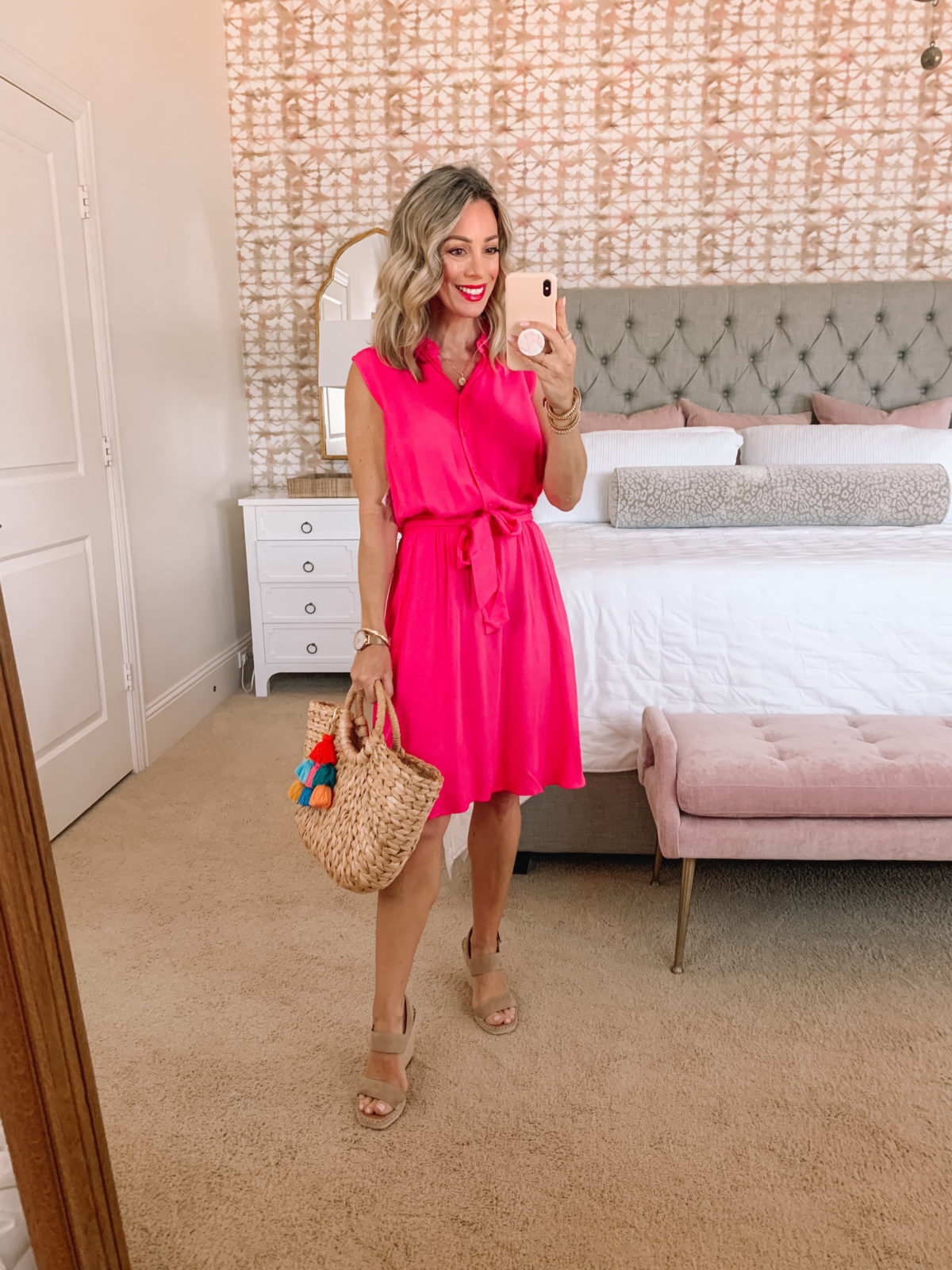 Amazon Fashion Faves, Sleeveless Pink Dress, Wedges and Woven Tote with Tassel