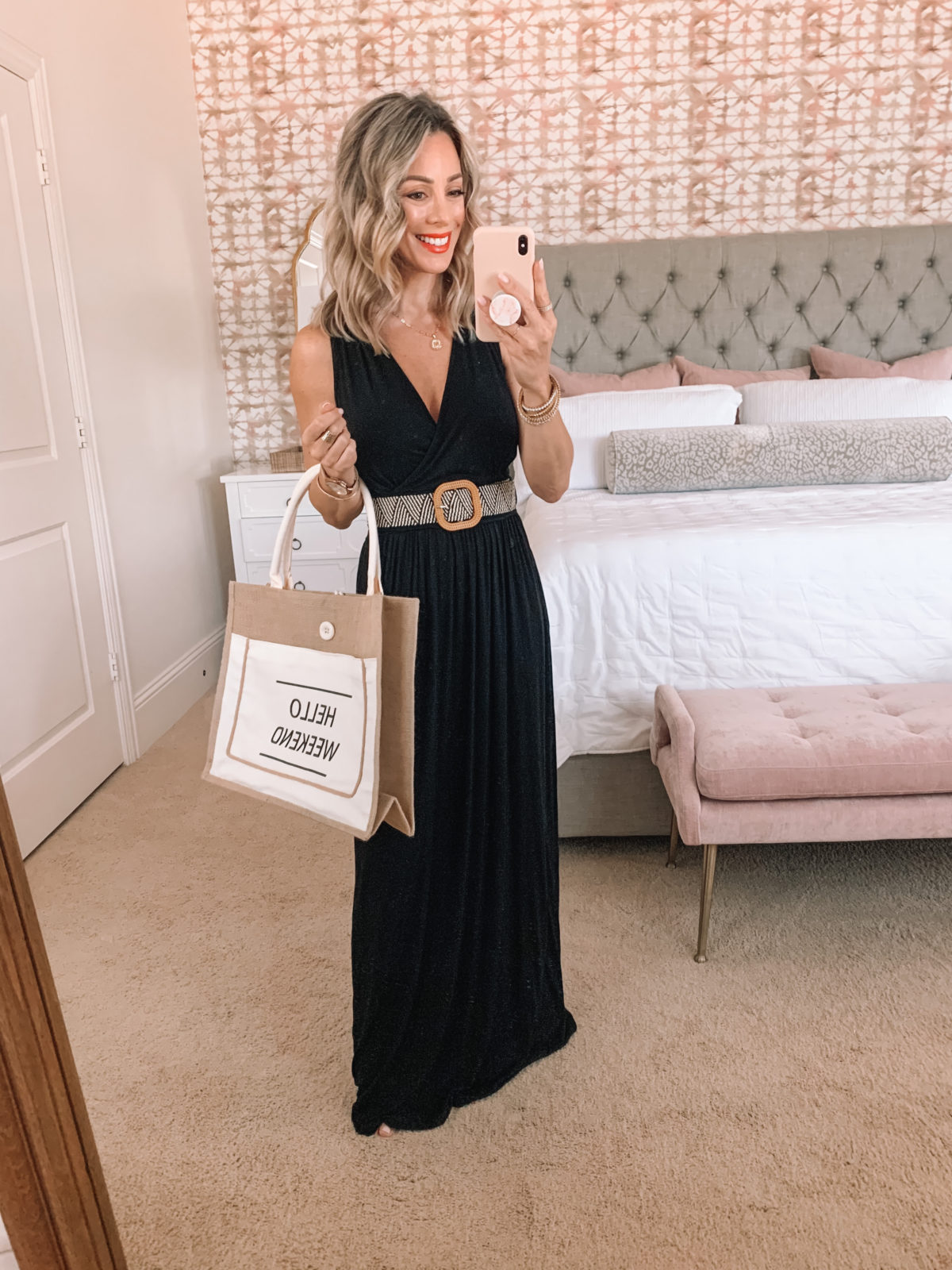 Amazon Fashion Faves, Black Maxi Dress with woven belt and Weekend Tote Bag