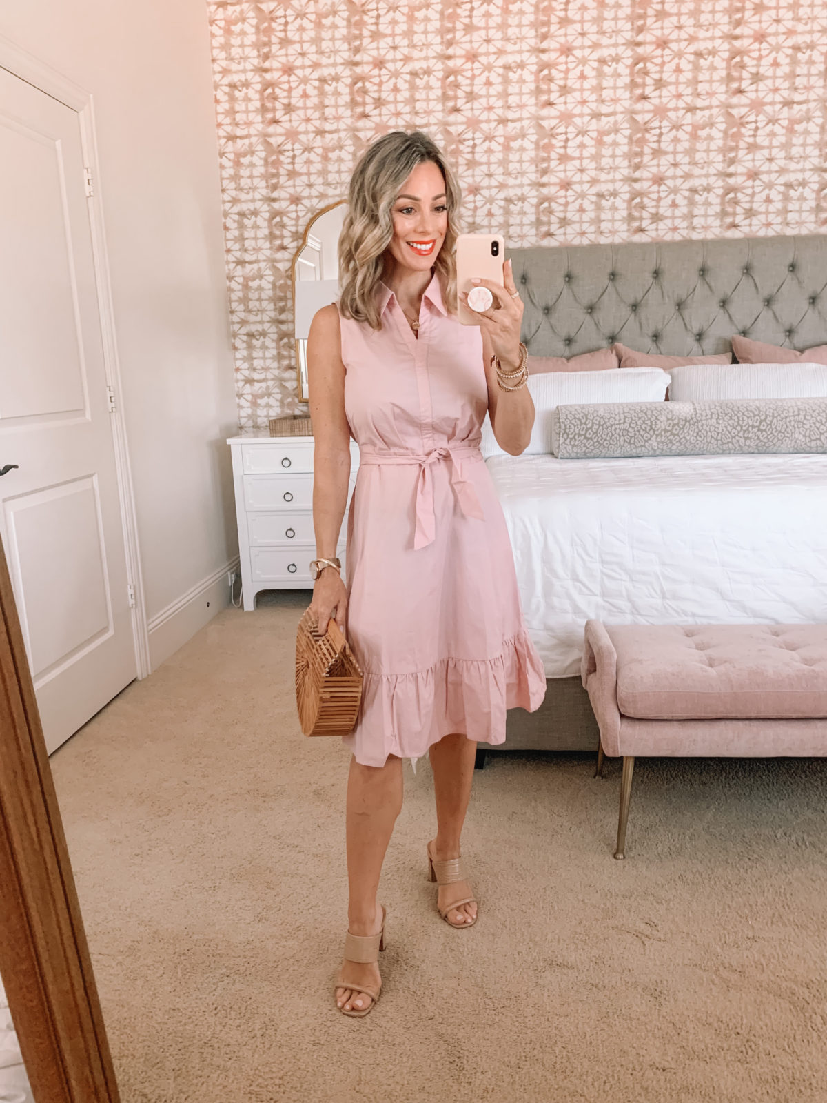 Amazon Fashion Faves, Pink Shirt Dress and Sandals and Bamboo Clutch