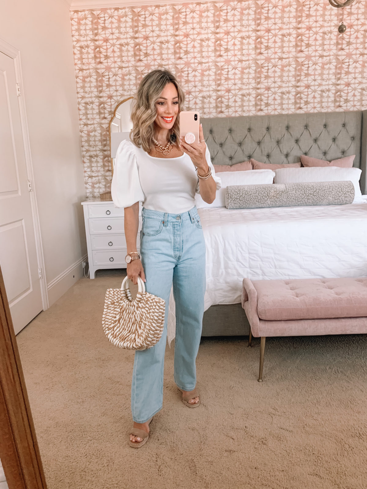 Amazon Fashion Faves, Puff Sleeve Top, Wide Leg Jeans, Wedges, Tote
