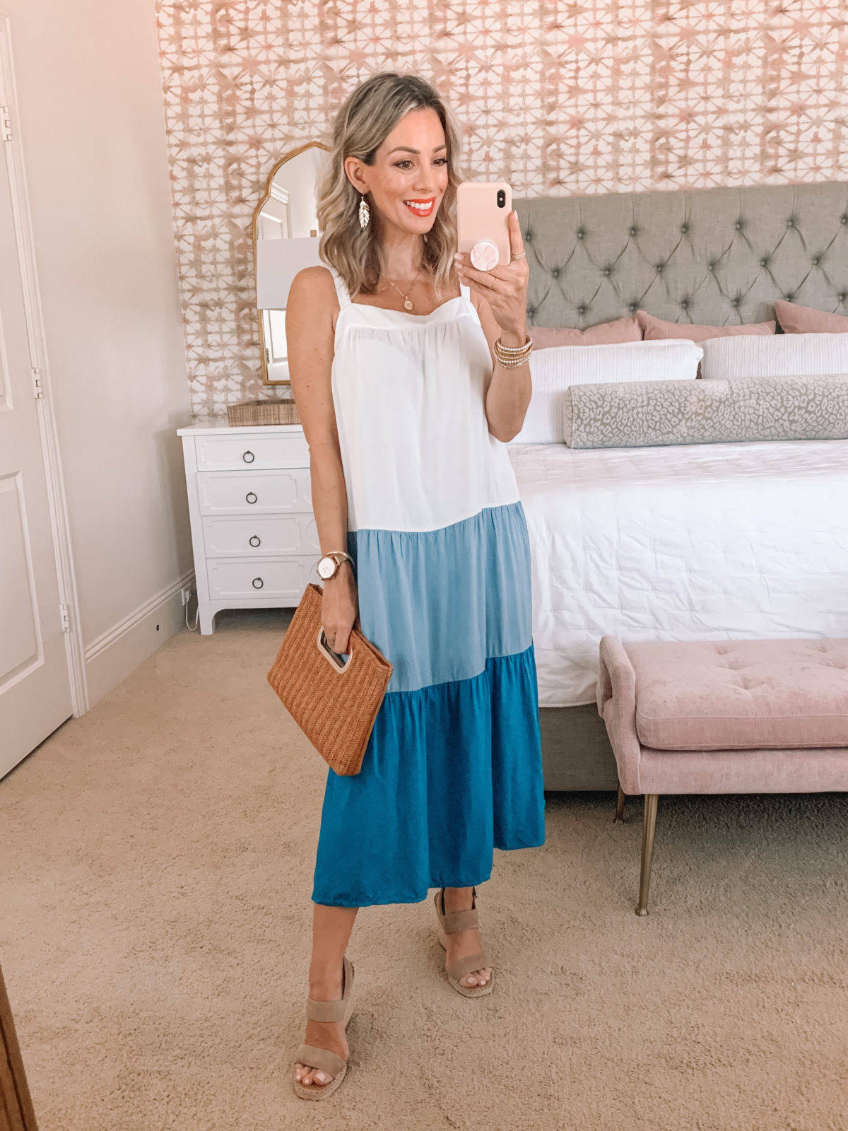 Amazon Fashion Faves, Blue Colorblock dress and Wedges