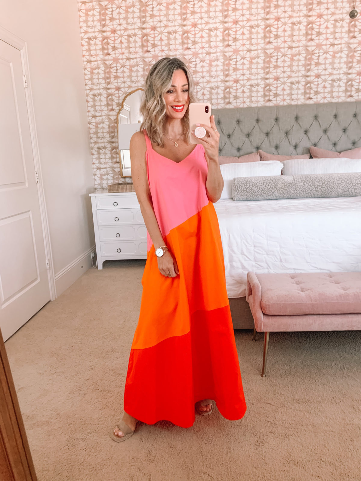 Amazon Fashion Faves, Colorblock dress in Pink, Orange, and Red, with wedges