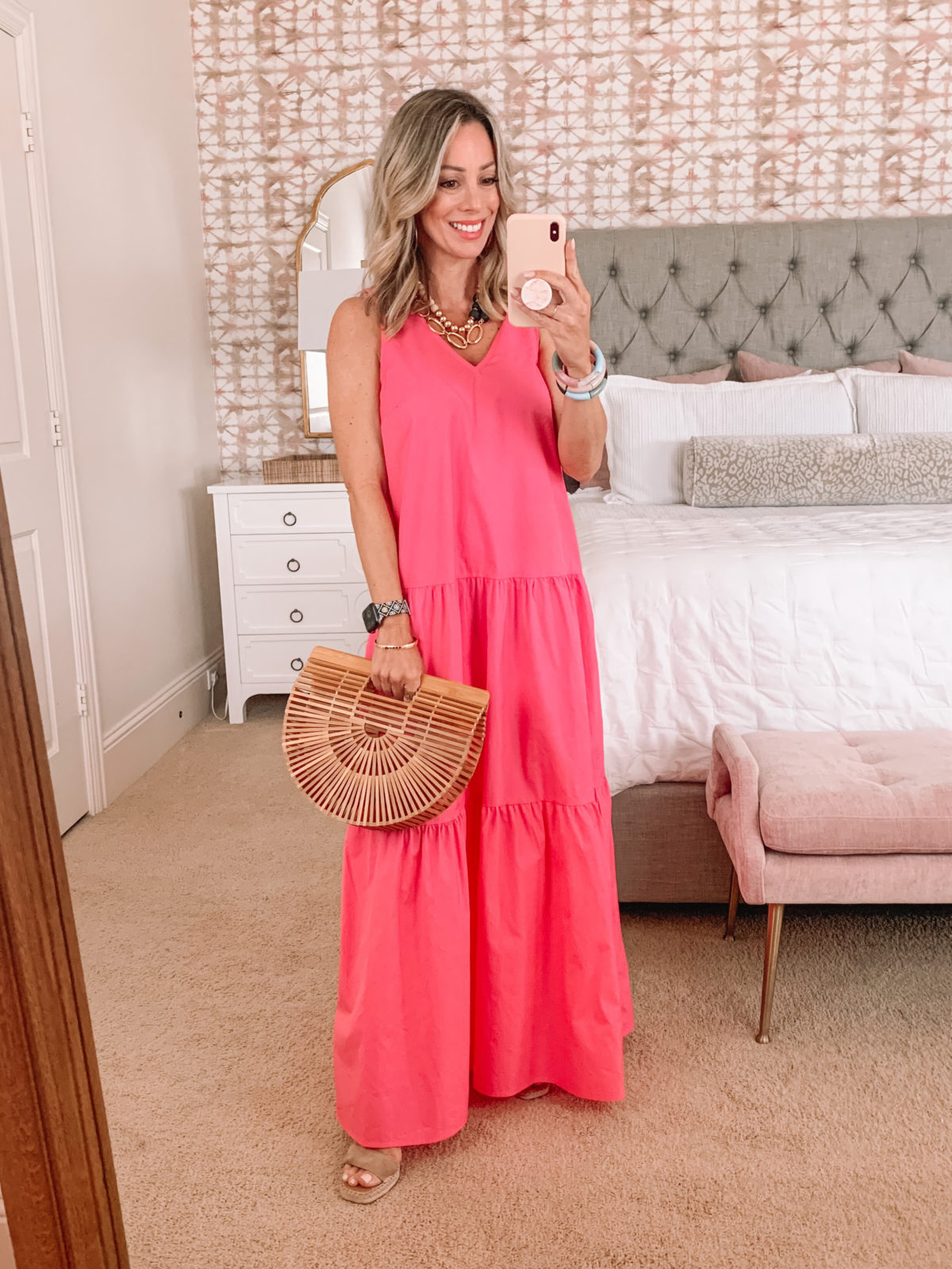 Dressing Room Finds, Target Maxi Dress and Bamboo Clutch with Wedges