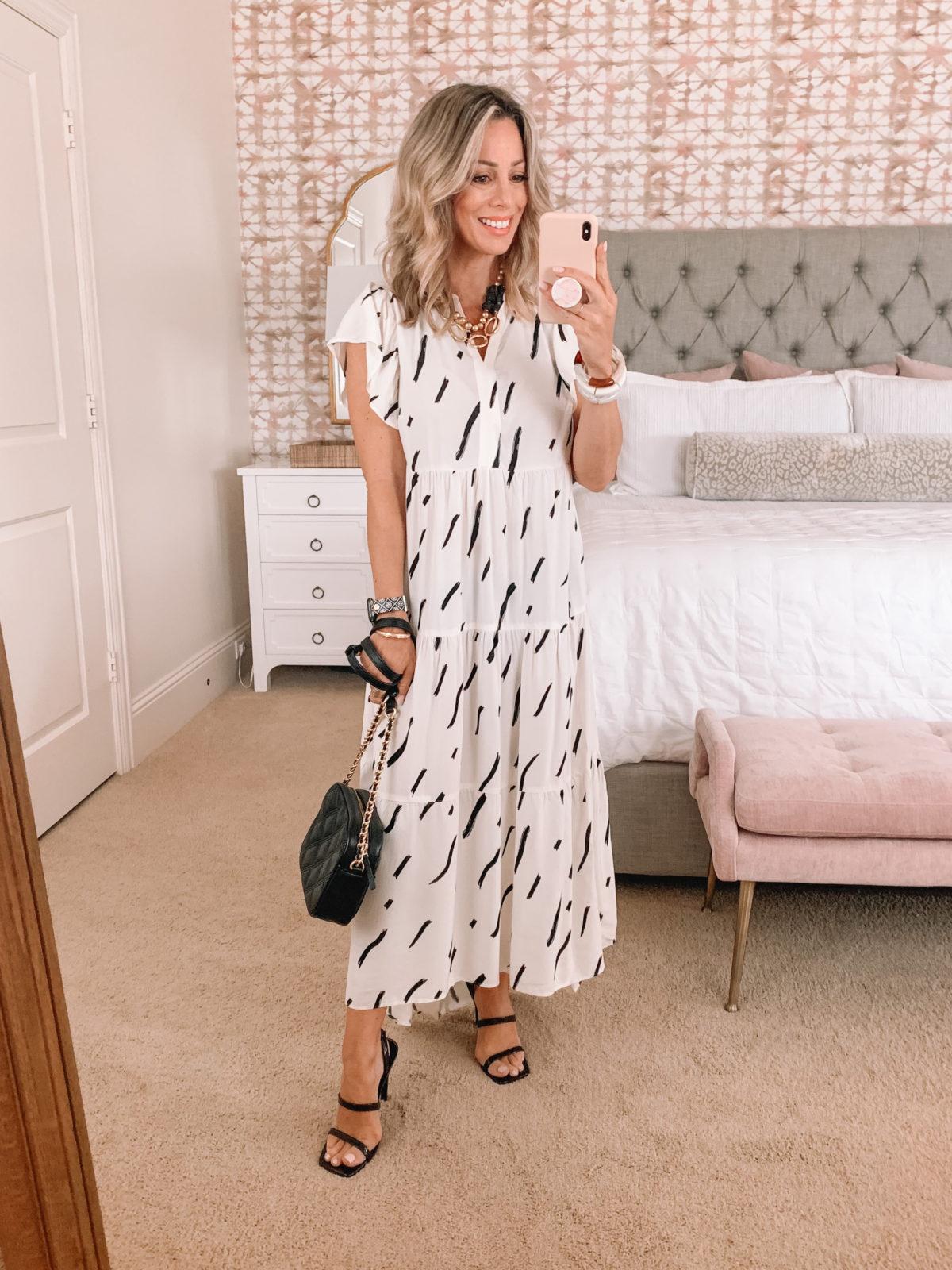 Dressing Room Finds, Maxi Dress, Heels, Crossbody