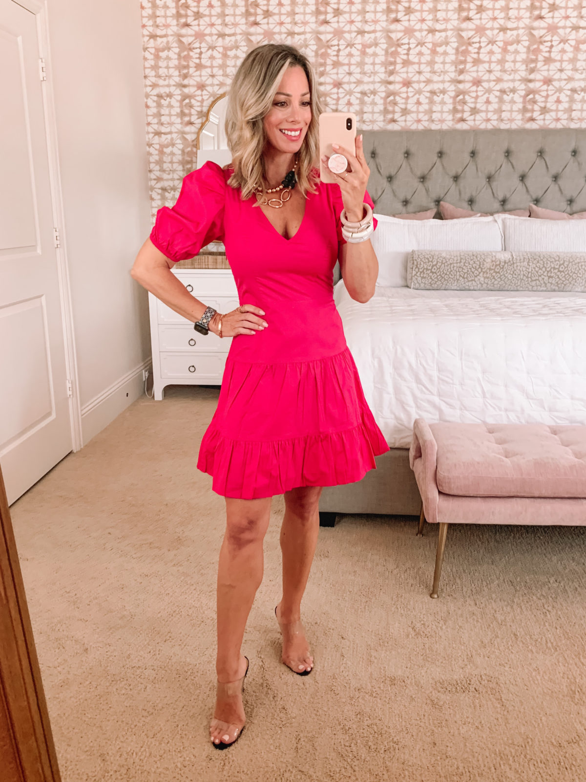 Dressing Room Finds, Pink Mini Dress with Puff Sleeves and Clear Sandals