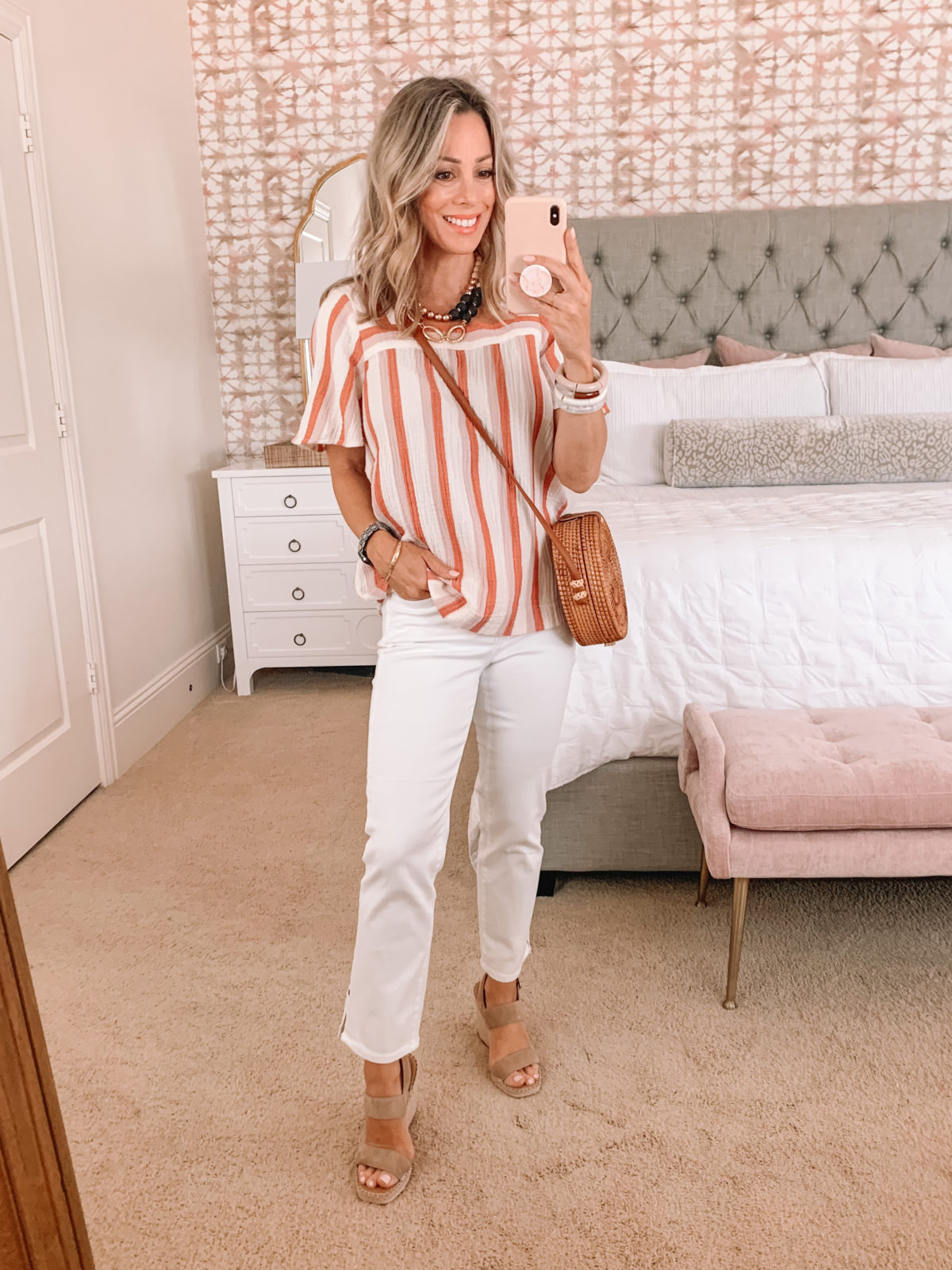 Dressing Room Finds, Stripe Top, Jeans, Wedges and Woven Crossbody